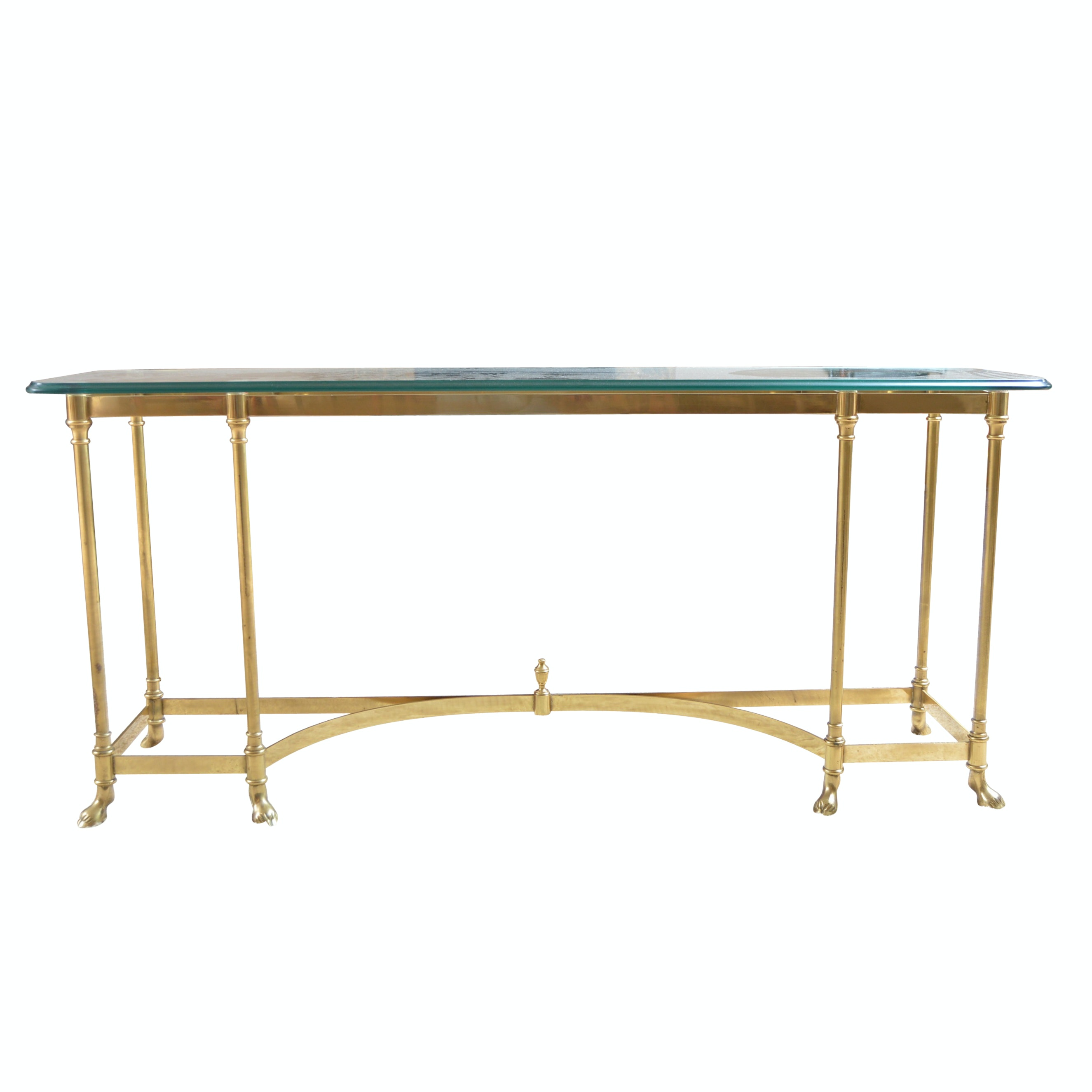 Neoclassic Style Brass Console Table with Glass Top