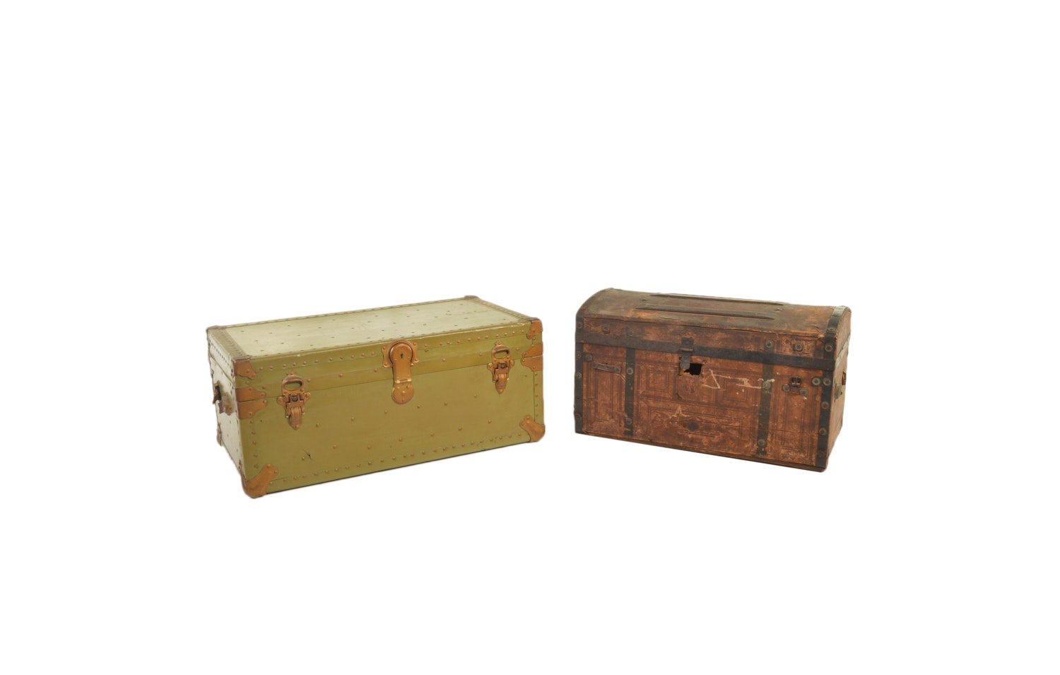 Vintage Army Trunk and Dome Top Trunk