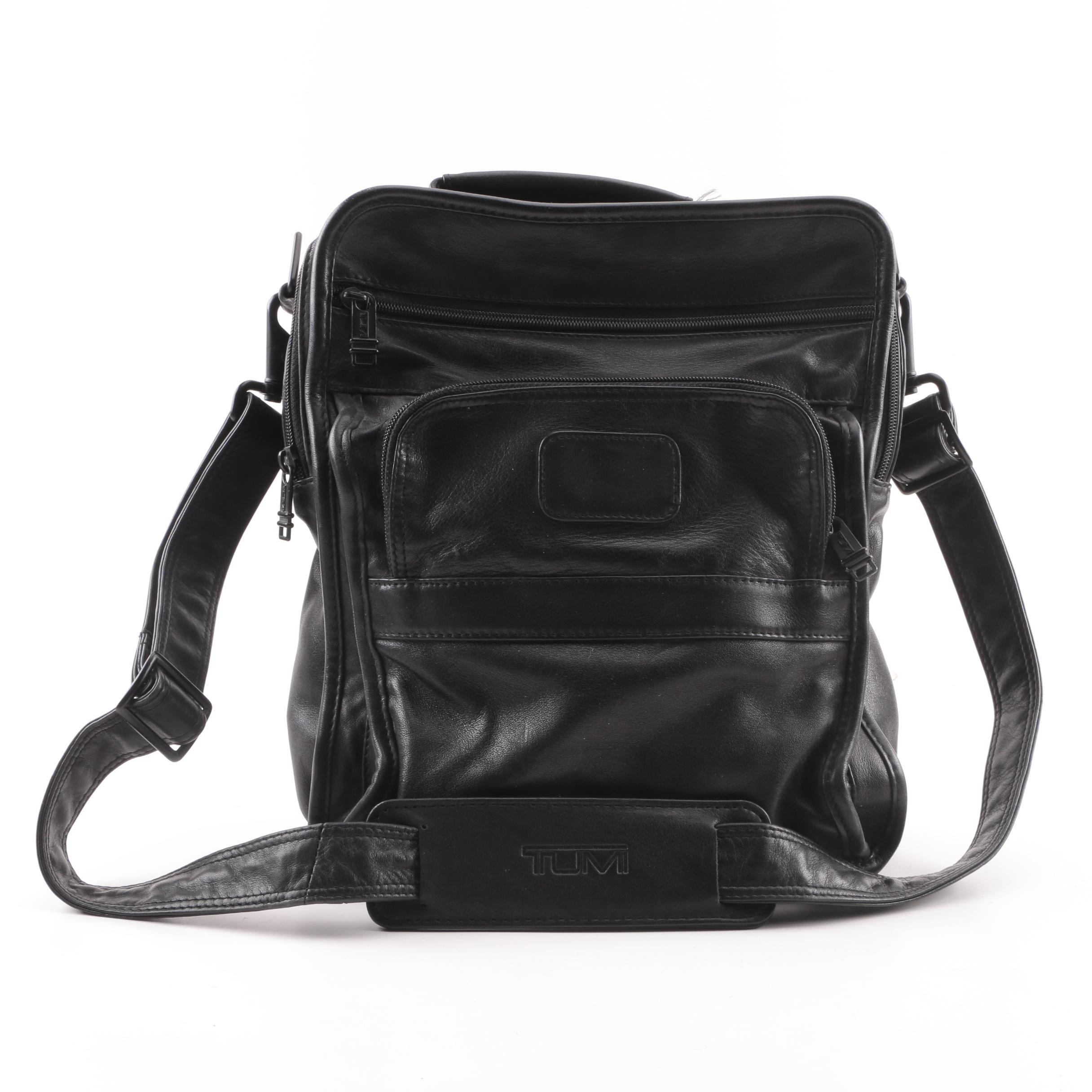 Tumi Black Leather Travel/Storage Bag