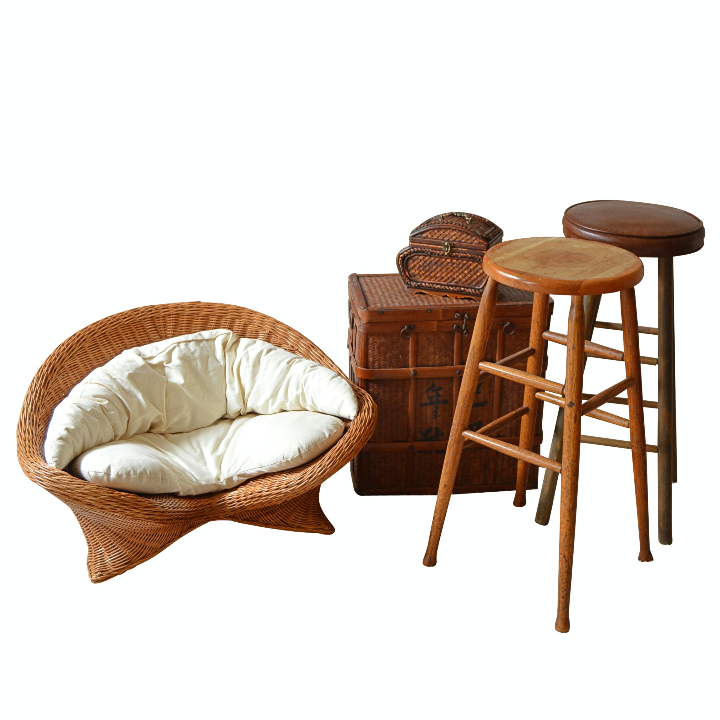 Wicker Decor, Pair of Wood Stools