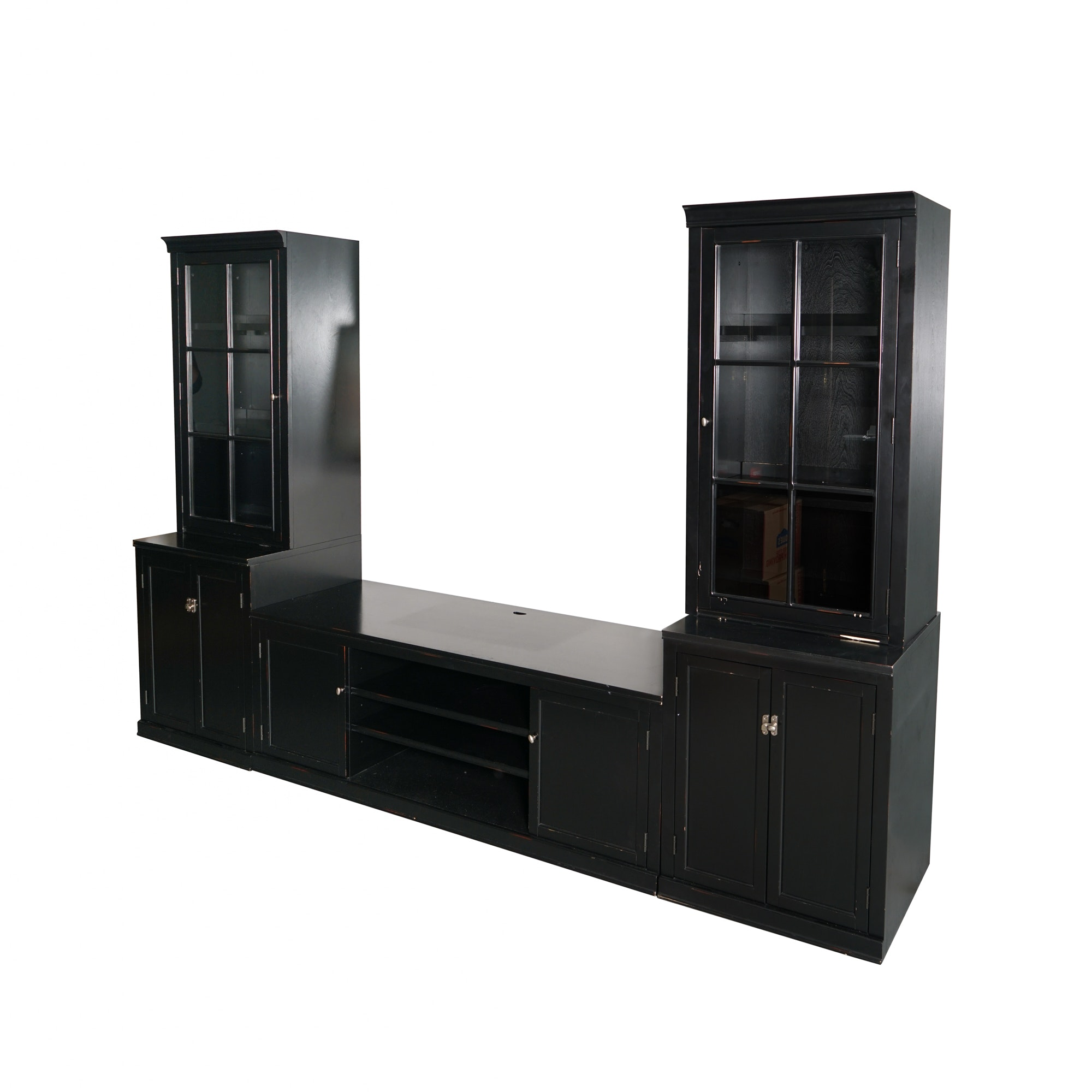 Dark Wooden Media Cabinet with Display Towers