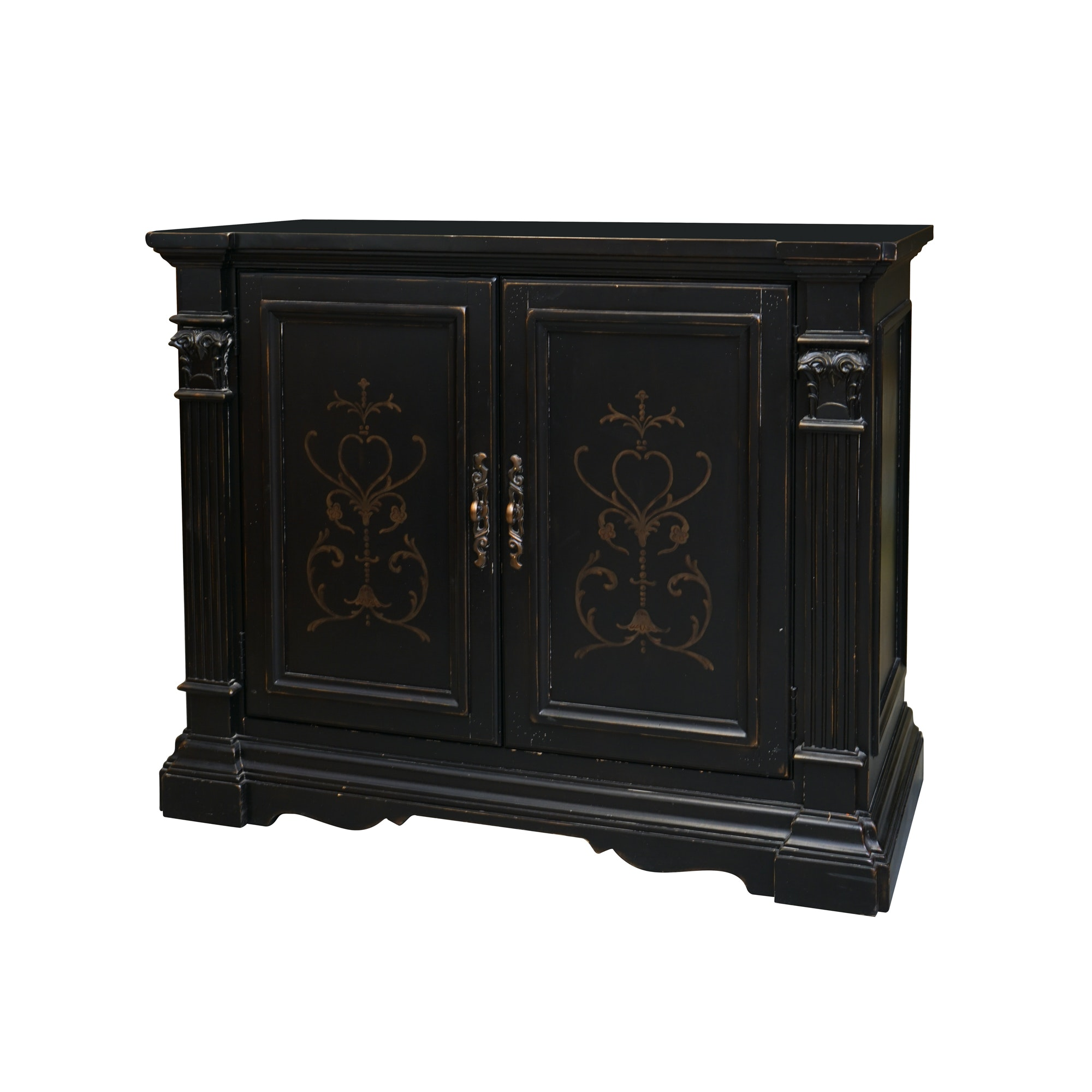 Ebonized Neoclassical Style Credenza with Gold Painted and Columnar Accents