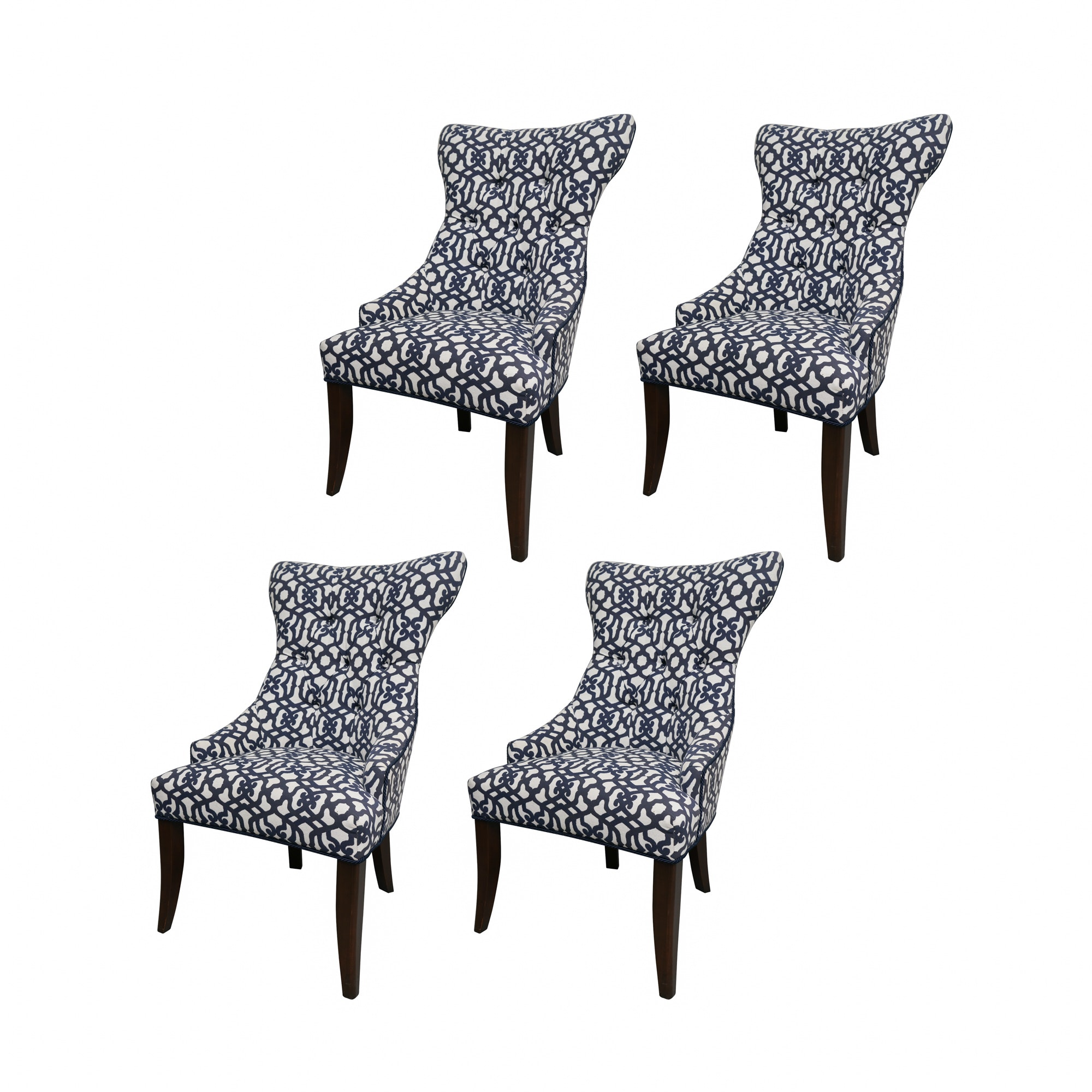White and Blue Geometric Pattern Upholstered Chairs