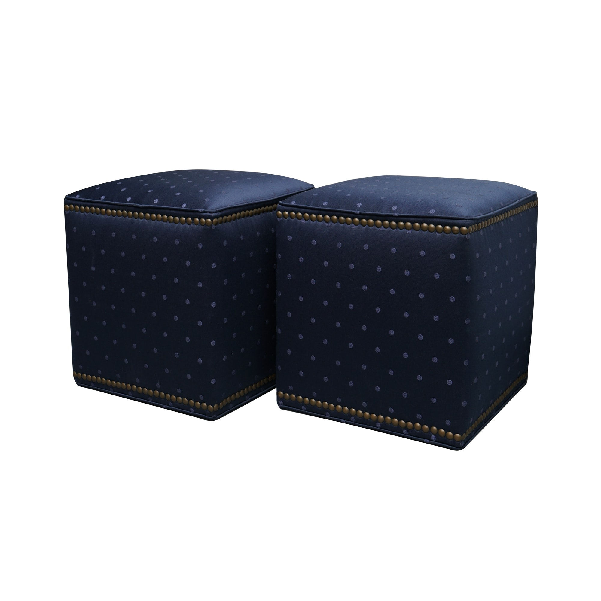 Pair of Navy Upholstered Ottomans