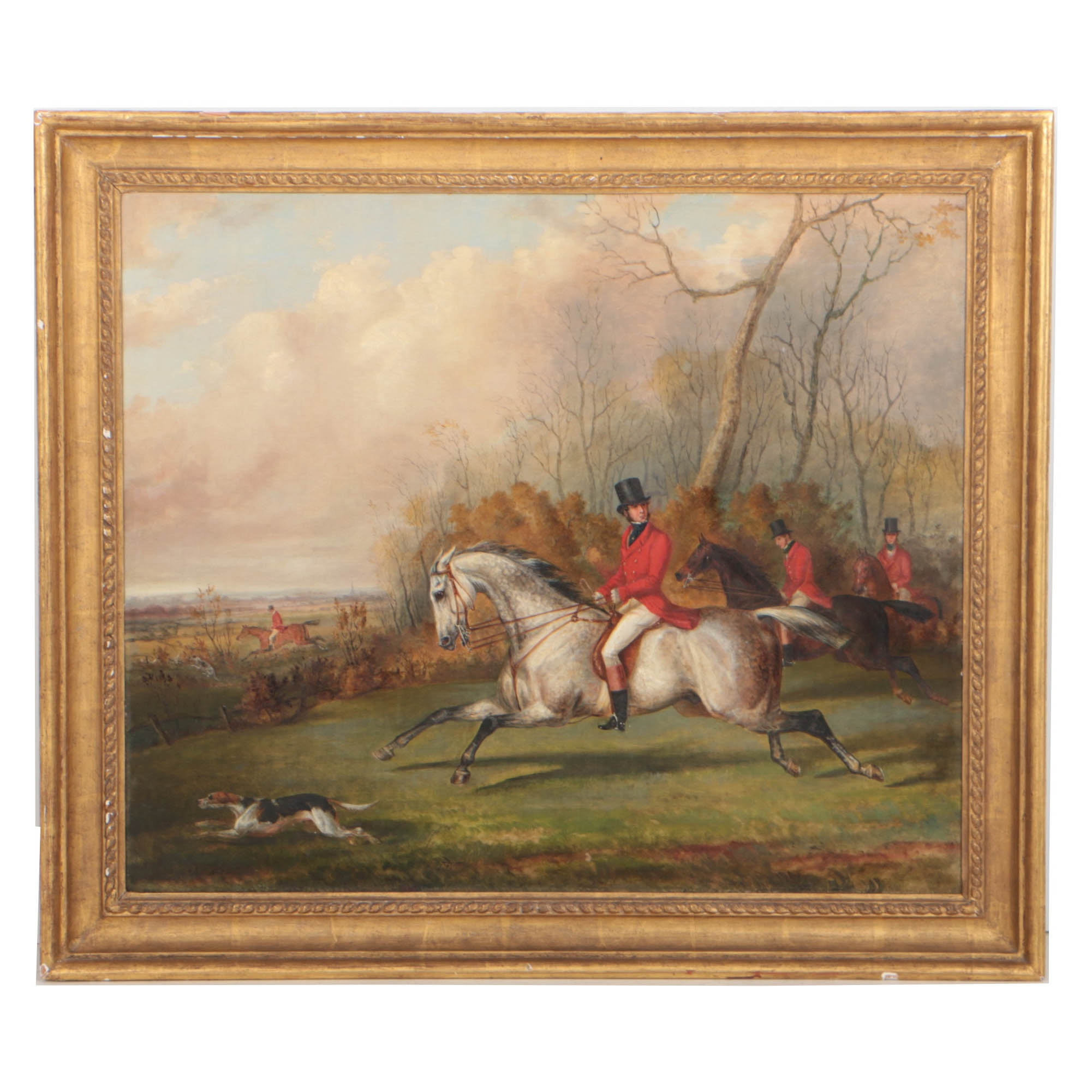 George Henry Laporte 1837 Oil Painting on Canvas English Hunting Scene
