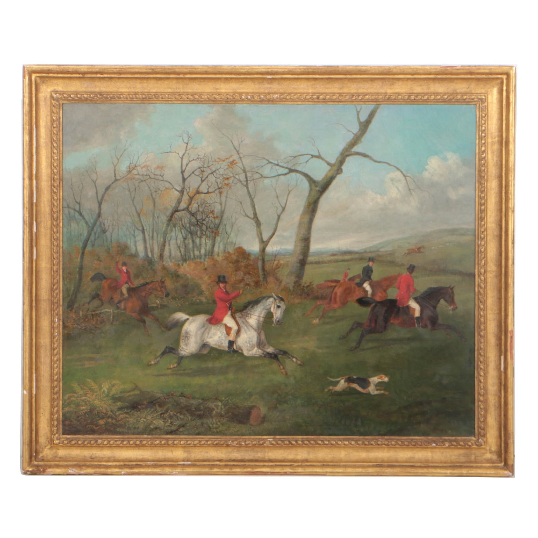 George Henry Laporte 19th Century Oil Painting English Hunting Scene