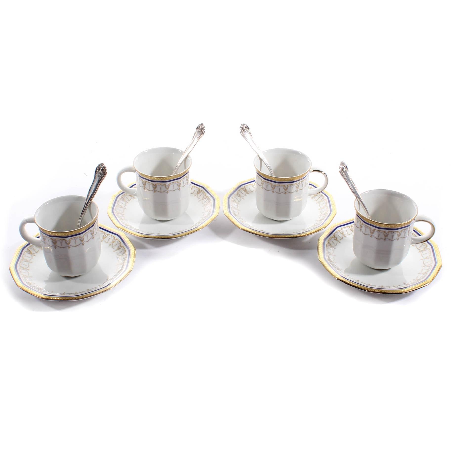 Tirschenreuth Porcelain Demitasse Set and National Silver Plate Spoons