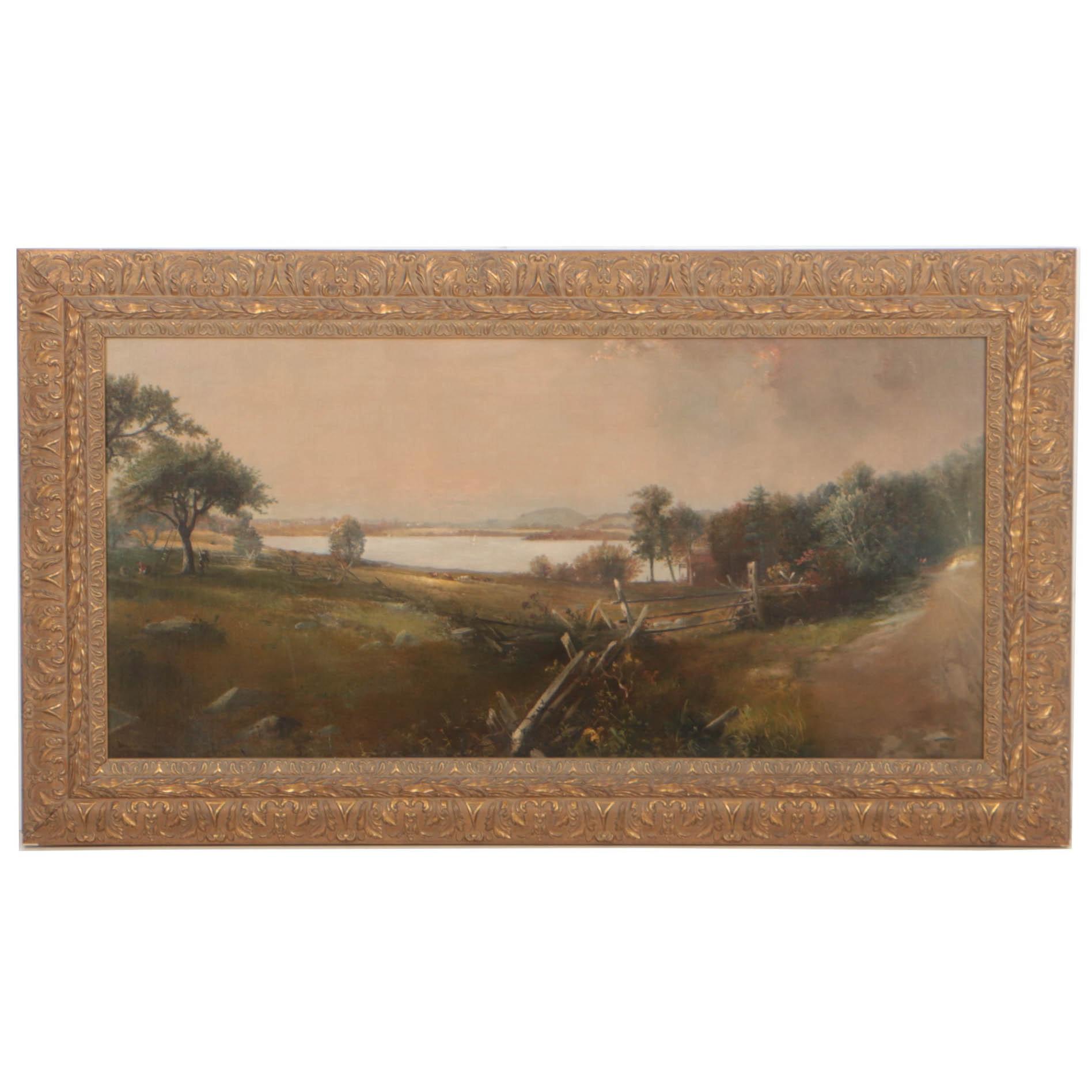 "Douglas Arthur Teed 1886 Oil Painting ""Summer on the Hudson"""
