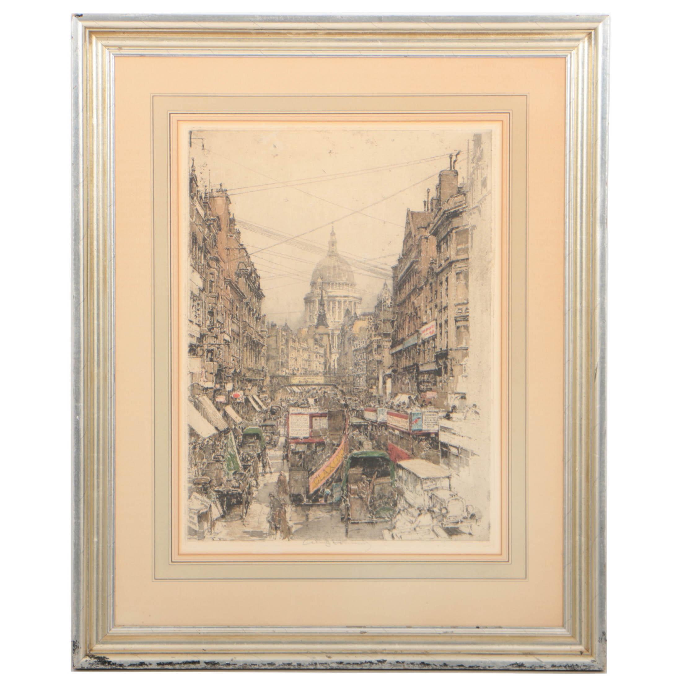 "Luigi Kasimir Circa 1930 Color Etching ""Fleet Street"""