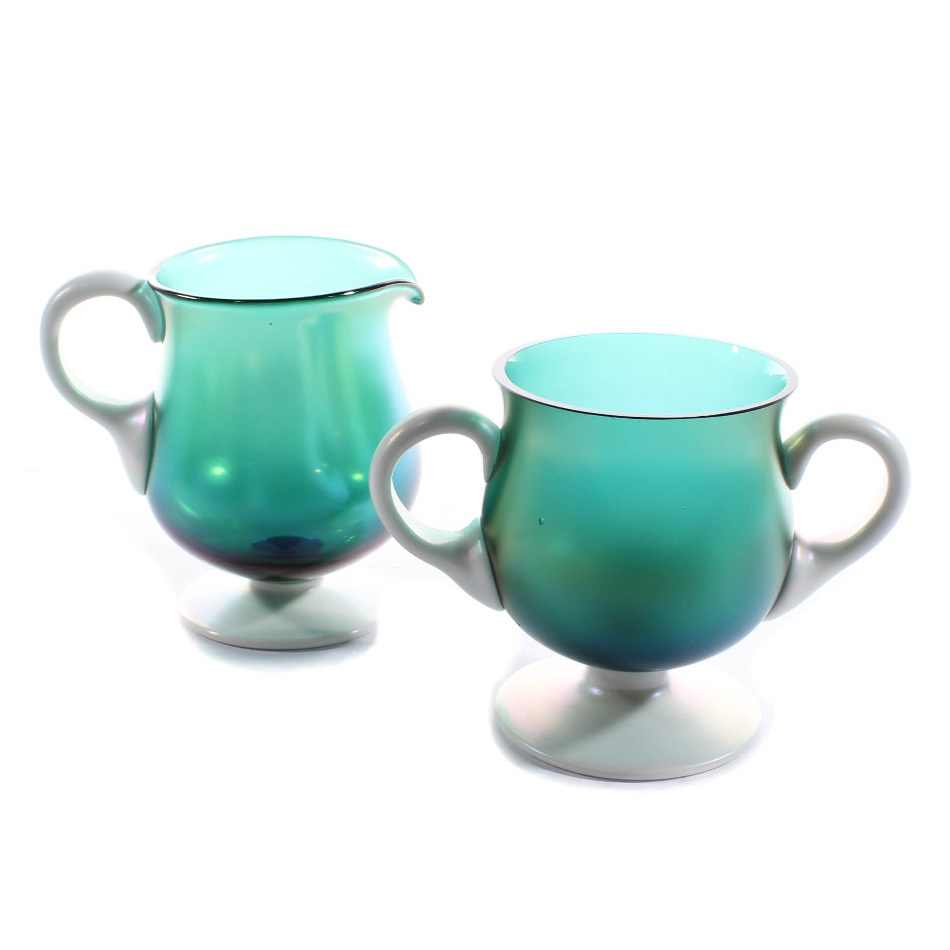 Steuben-Style Iridescent Art Glass Footed Sugar and Creamer