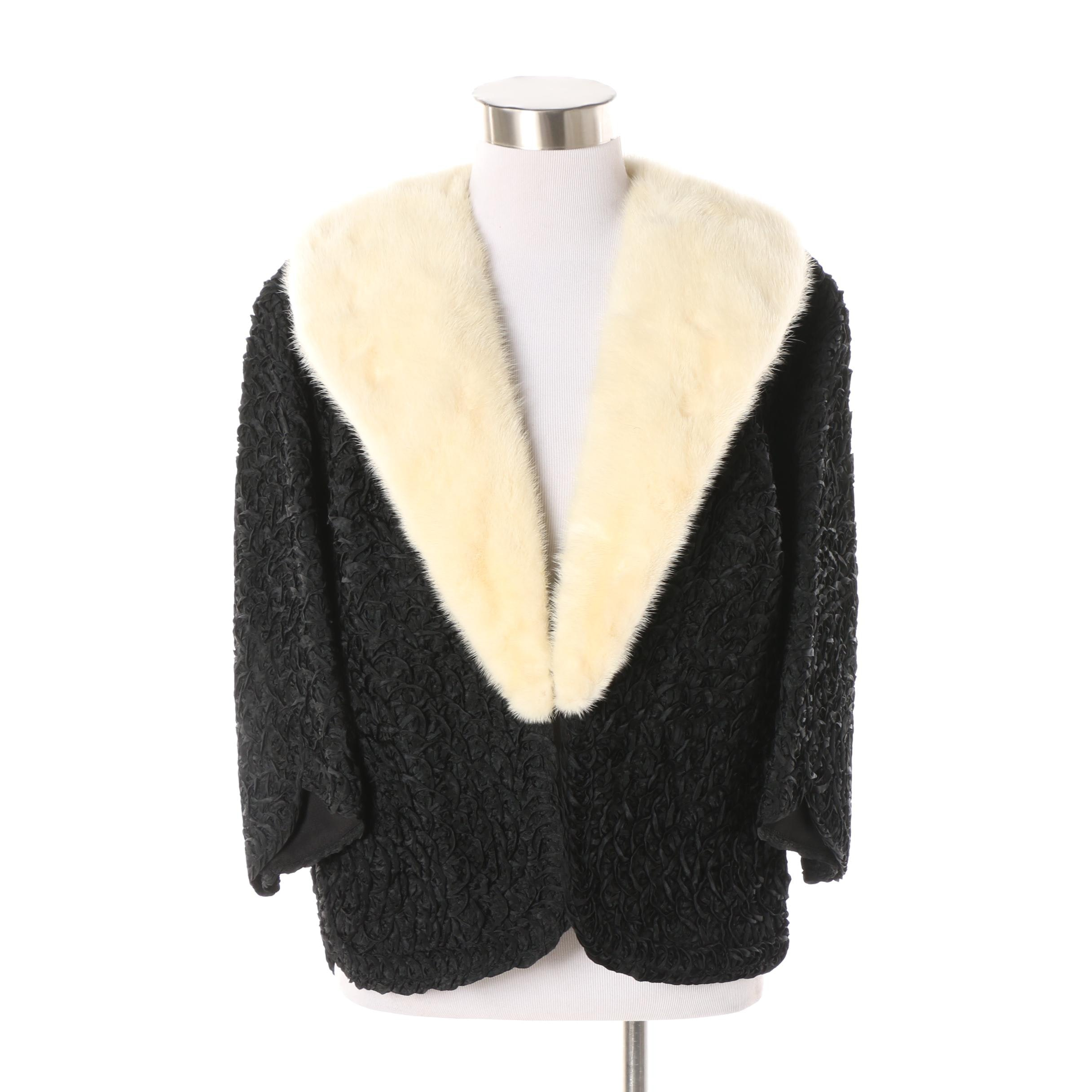 Vintage Jack Slade Furs Ribbonwork Black Jacket with Platinum Mink Fur Collar