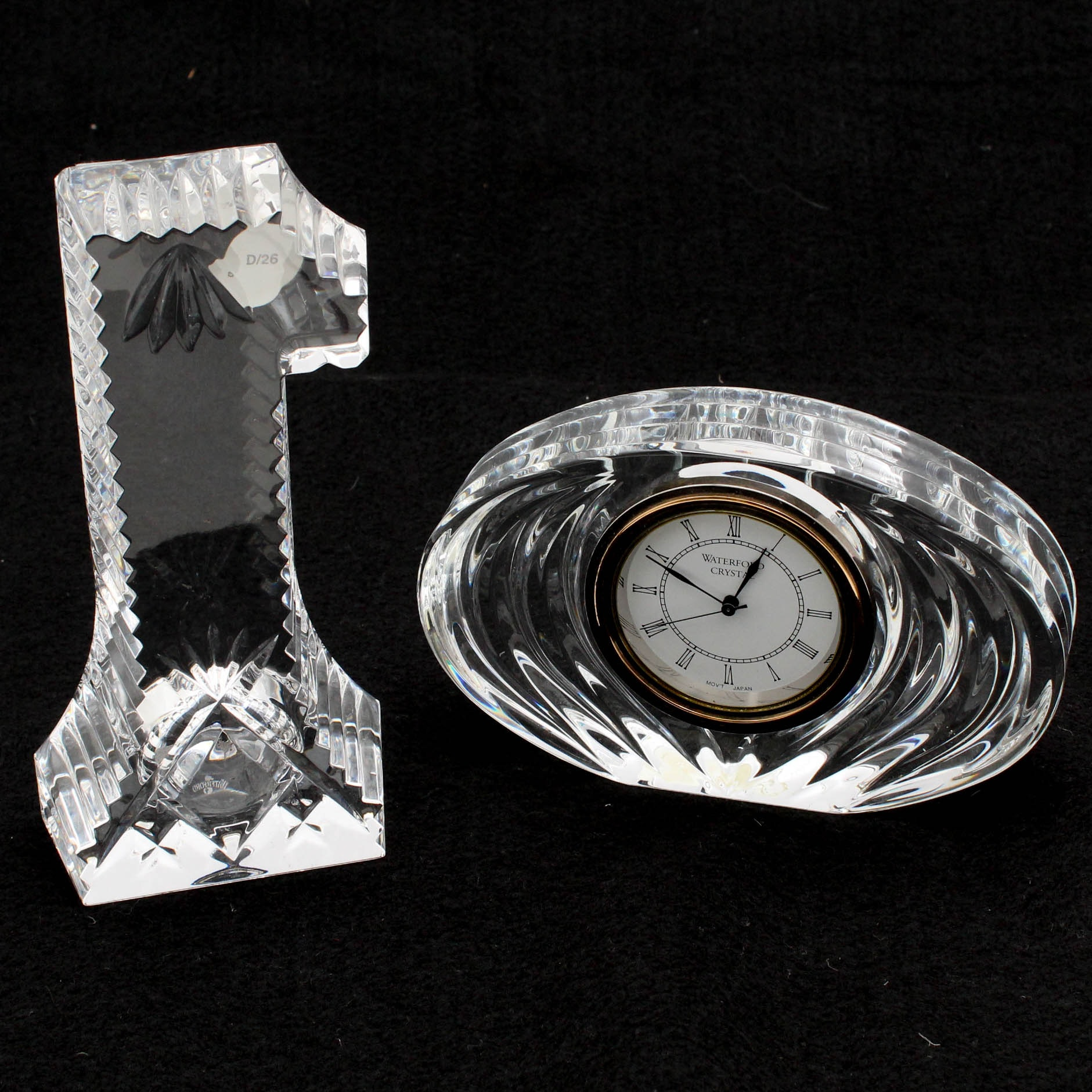 Waterford Crystal Clock and Paperweight