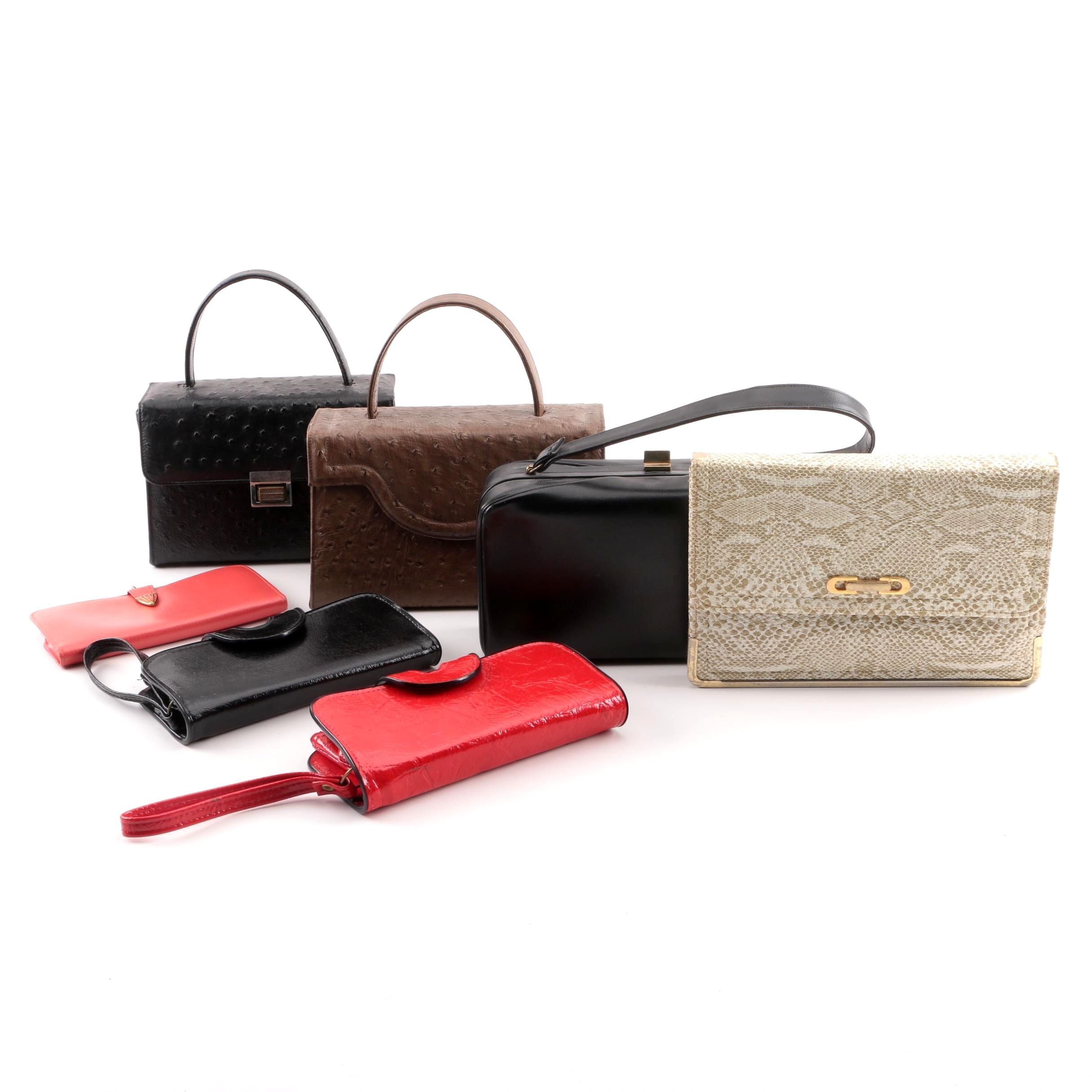 Vintage Leather and Vinyl Box Purses, Wristlets, Wallet and Clutch
