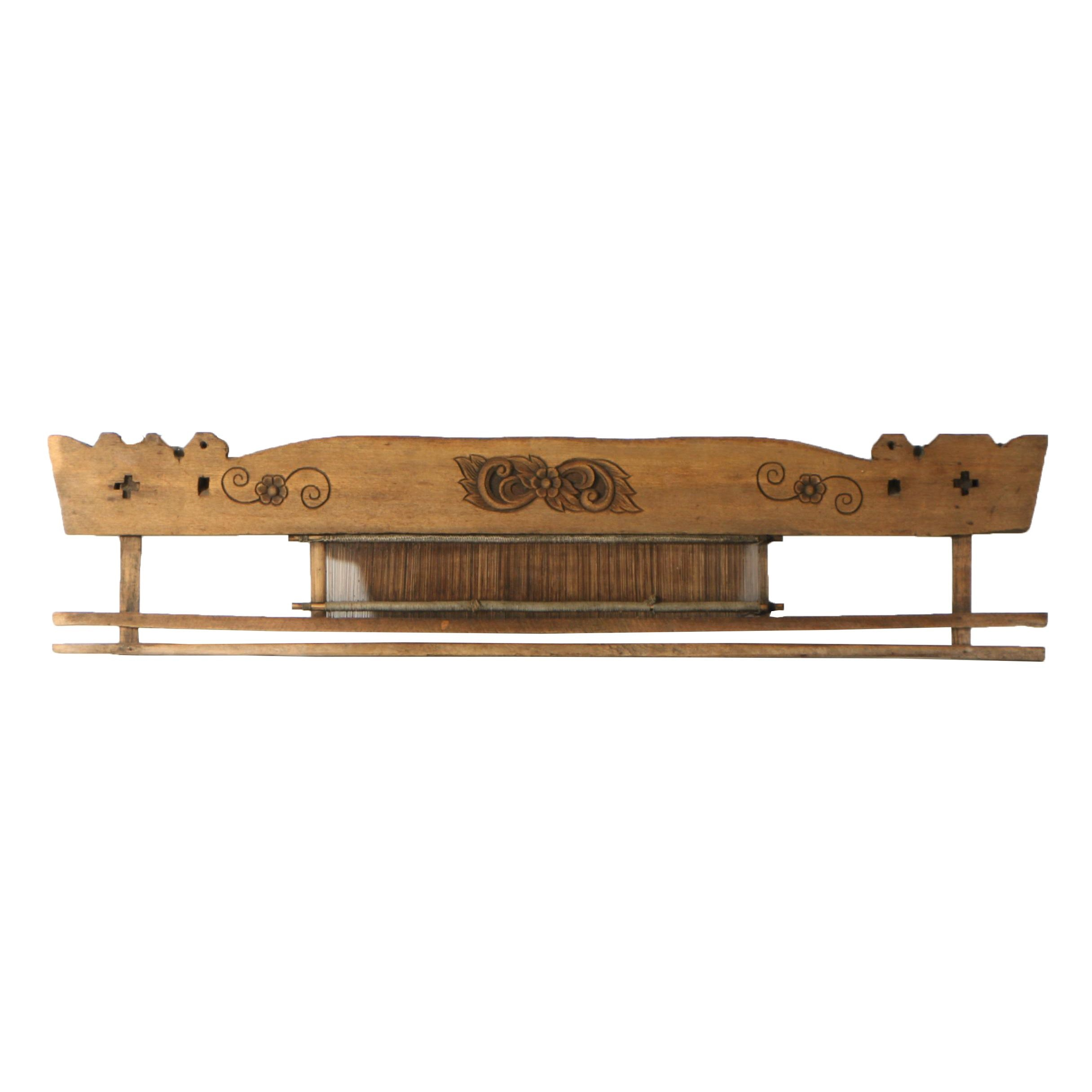 Carved Wood Decorative Reed Loom