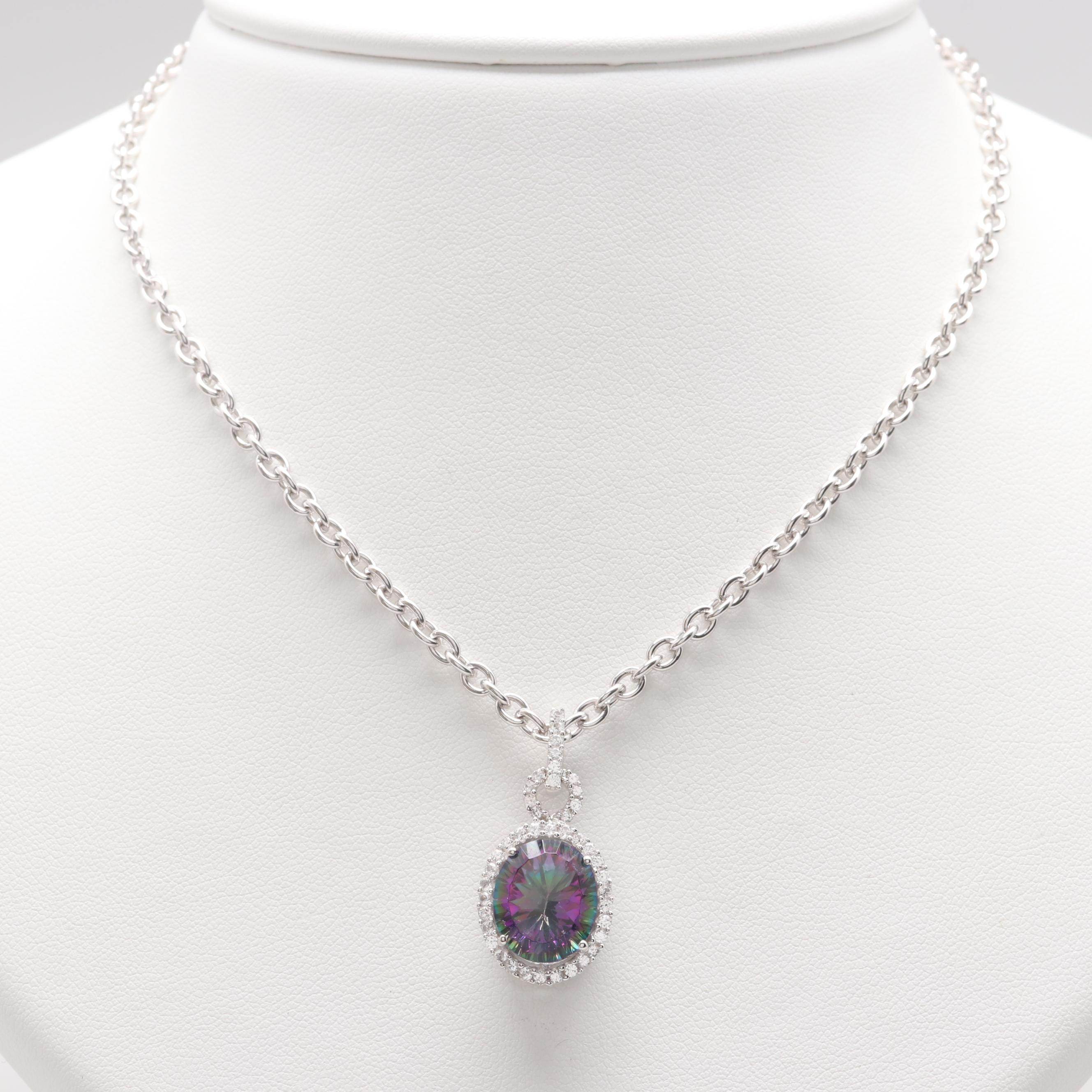 Sterling Silver Glass and White Sapphire Pendant Necklace