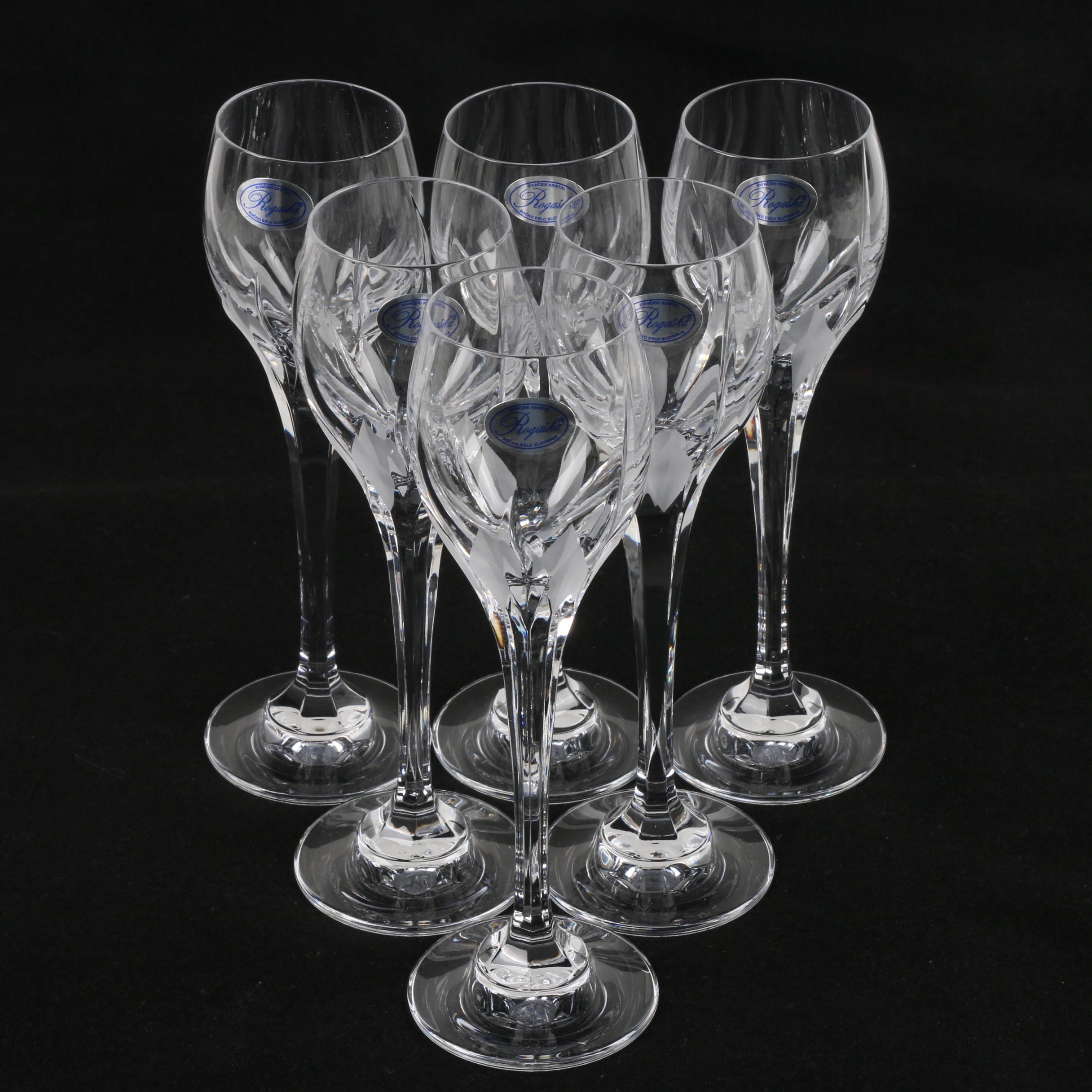 "Rogaska Slovenian ""Flame D'Amore"" Crystal Cordial Glasses"