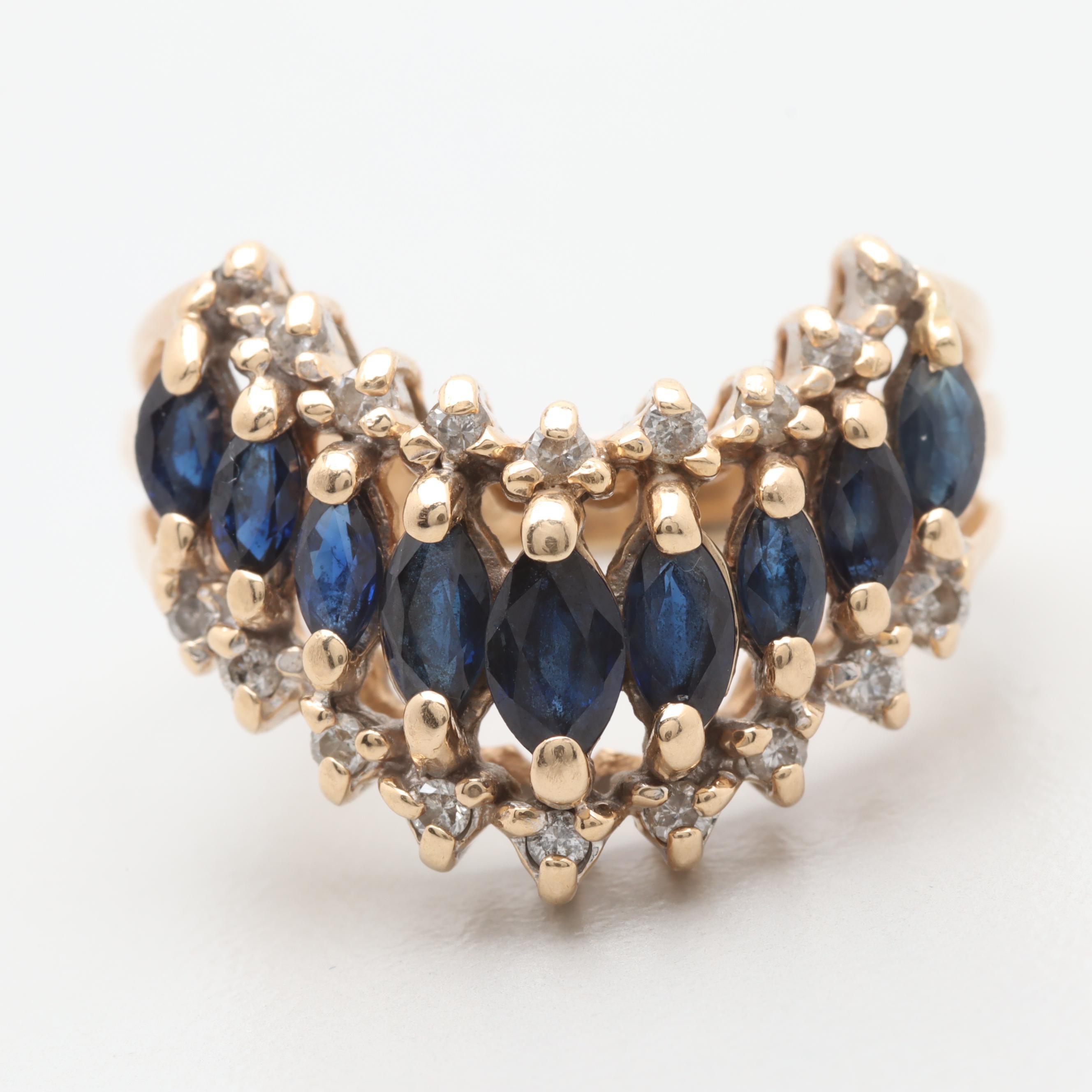 Alwand Vahan 14K Yellow Gold Sapphire and Diamond Ring