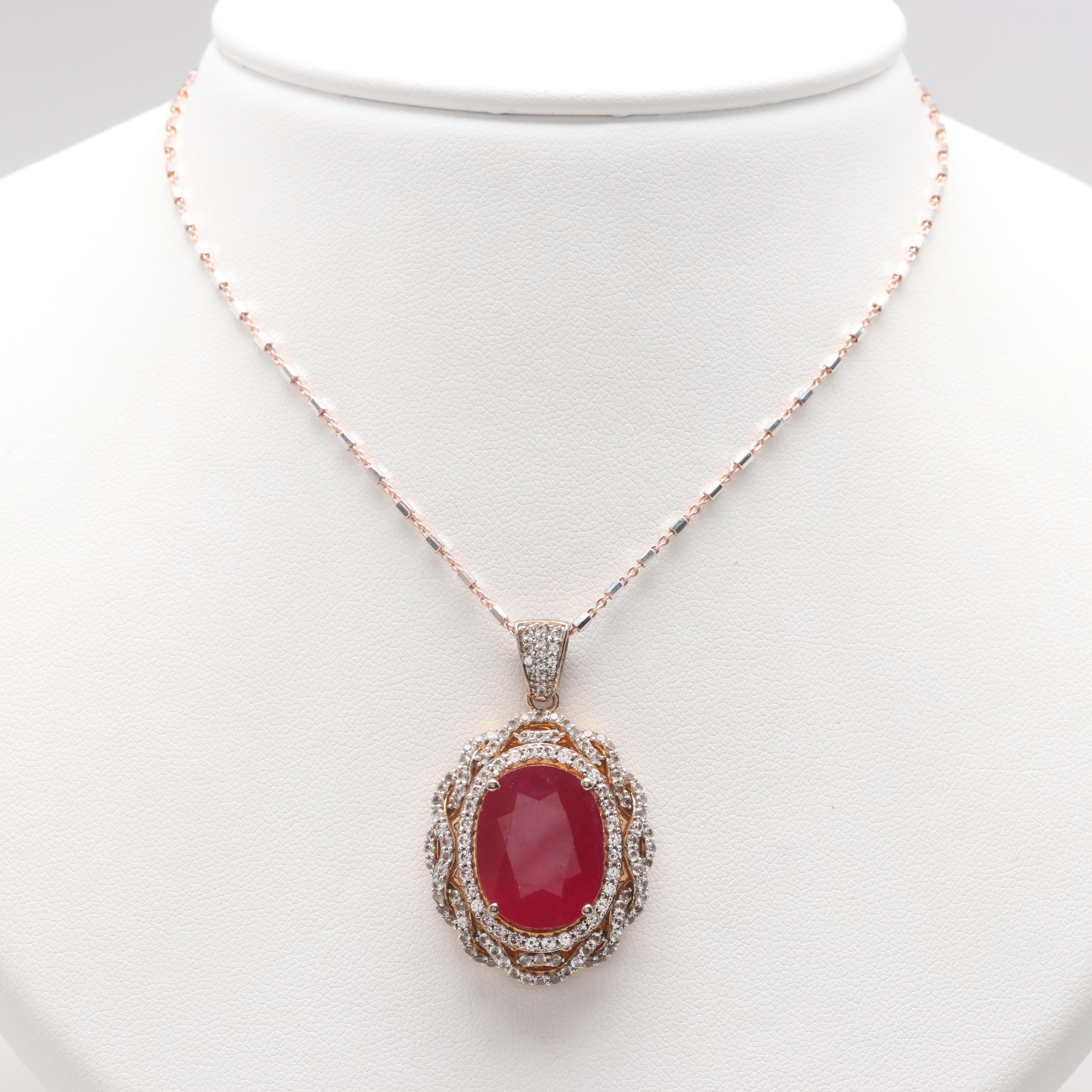 Gold Wash on Sterling Silver Filled Corundum and White Sapphire Pendant Necklace