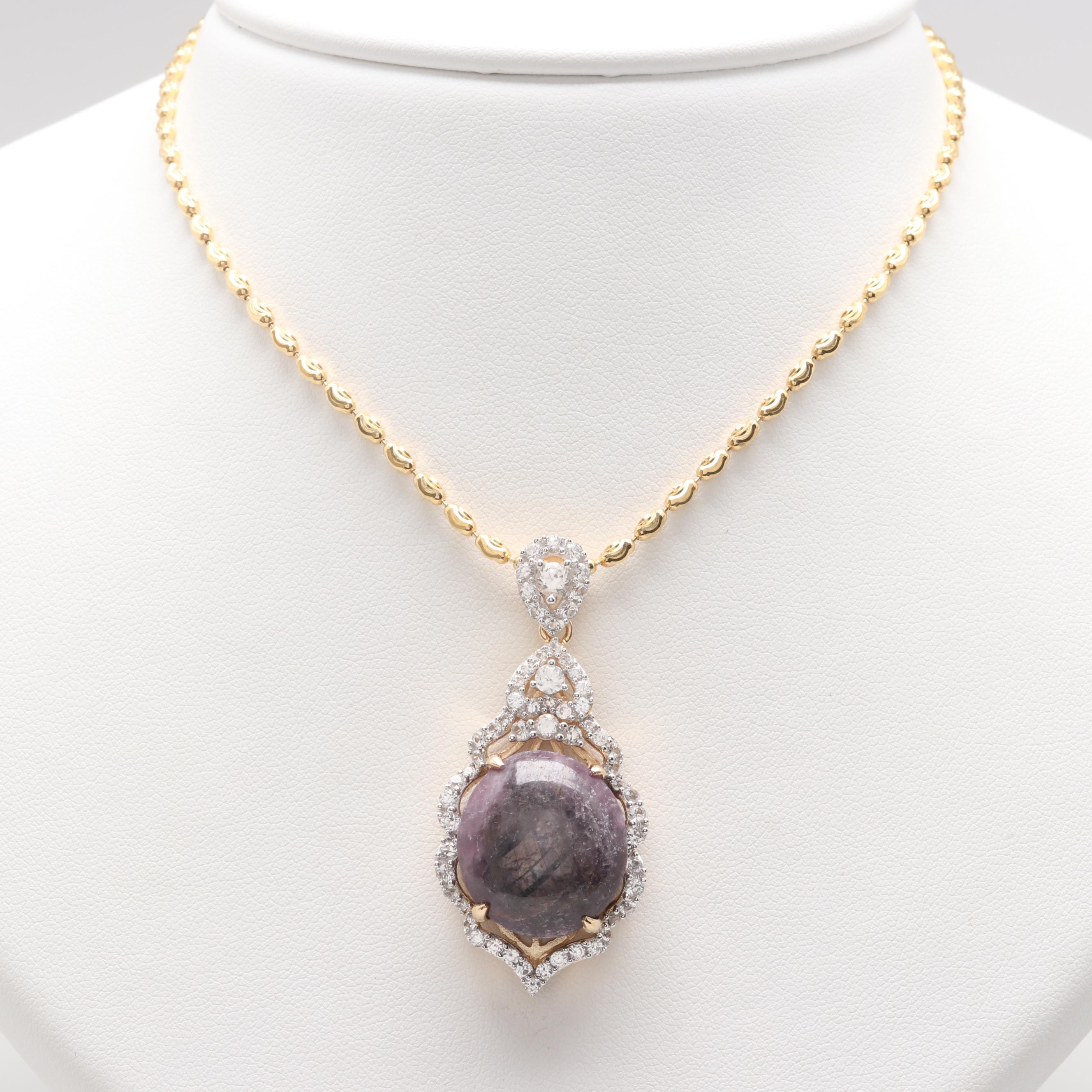 Gold Wash on Sterling Silver Ruby and White Sapphire Pendant Necklace