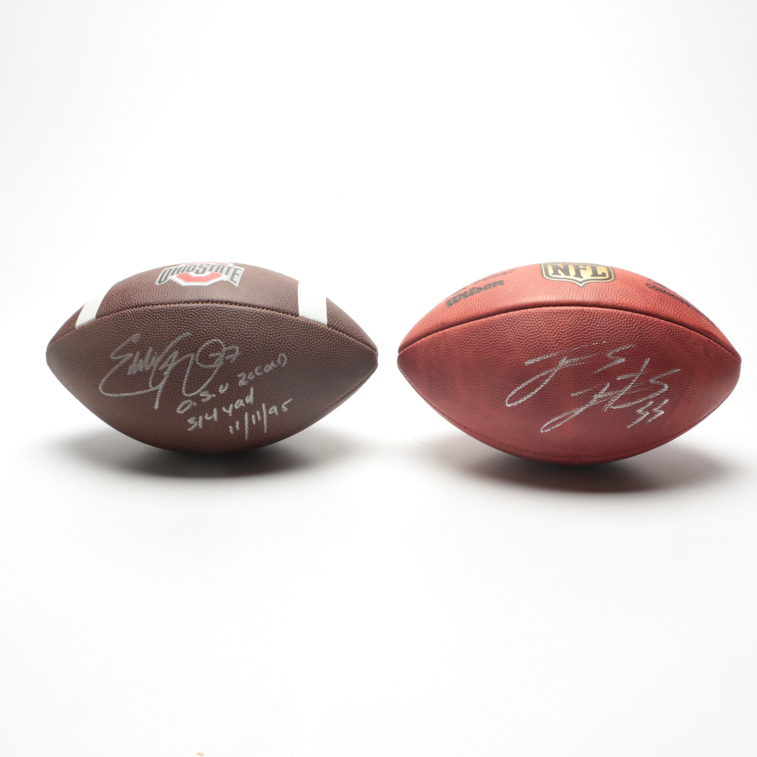 Ohio State All-Americans Eddie George and James Laurinaitis Signed Footballs COA