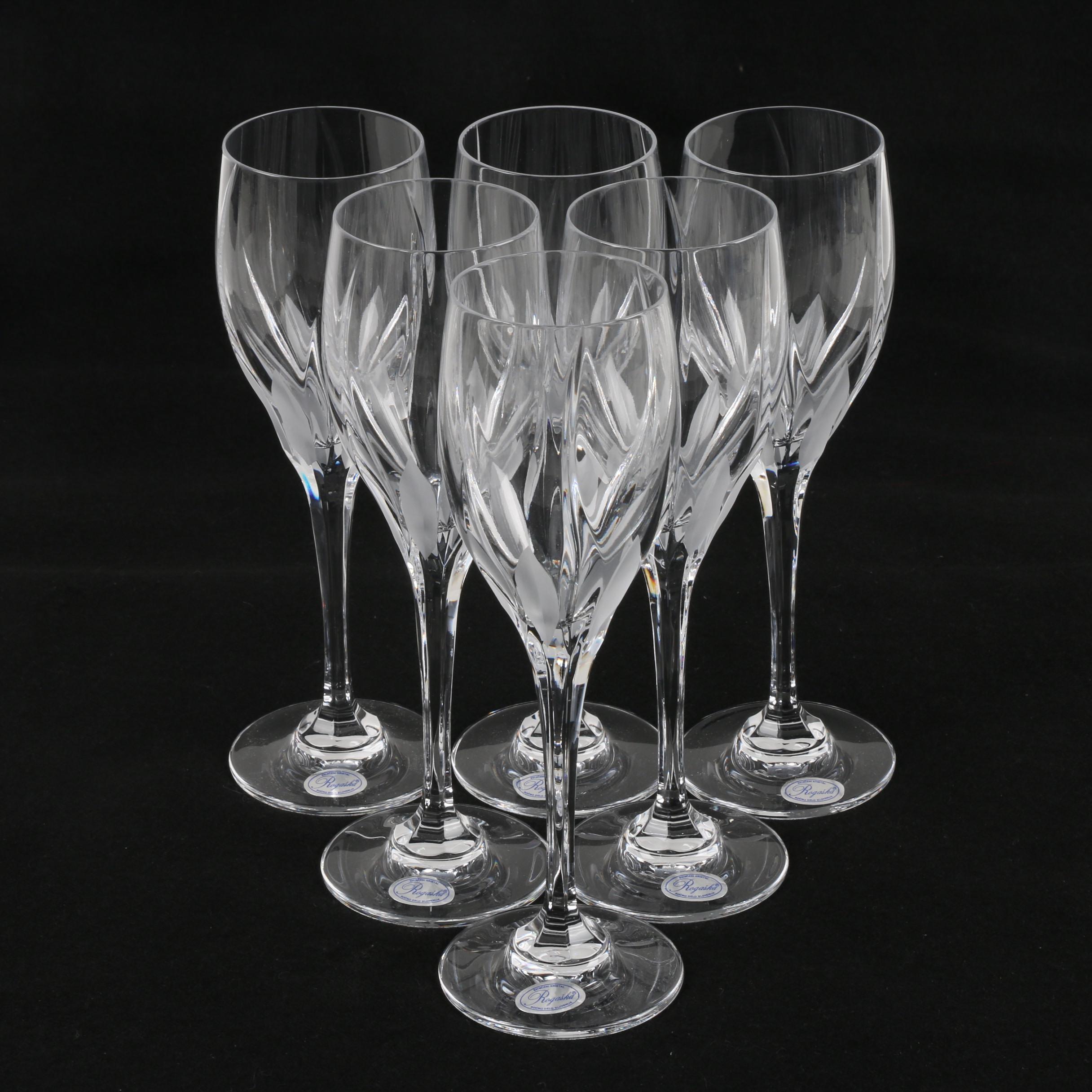 "Rogaska Slovenian ""Flame D'Amore"" Crystal Tulip Wine Glasses"
