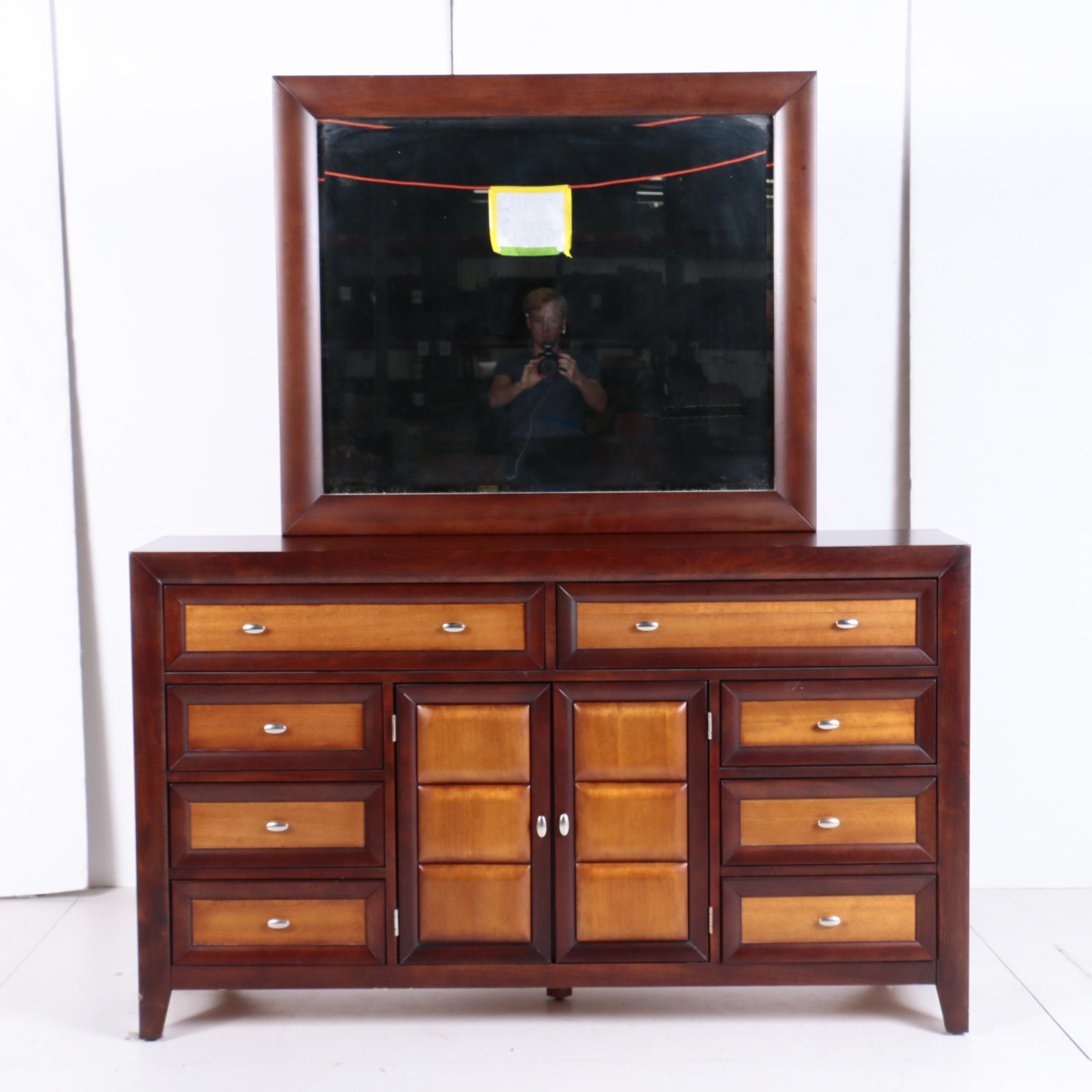 Contemporary Two-Tone Mirror-Back Chest of Drawers