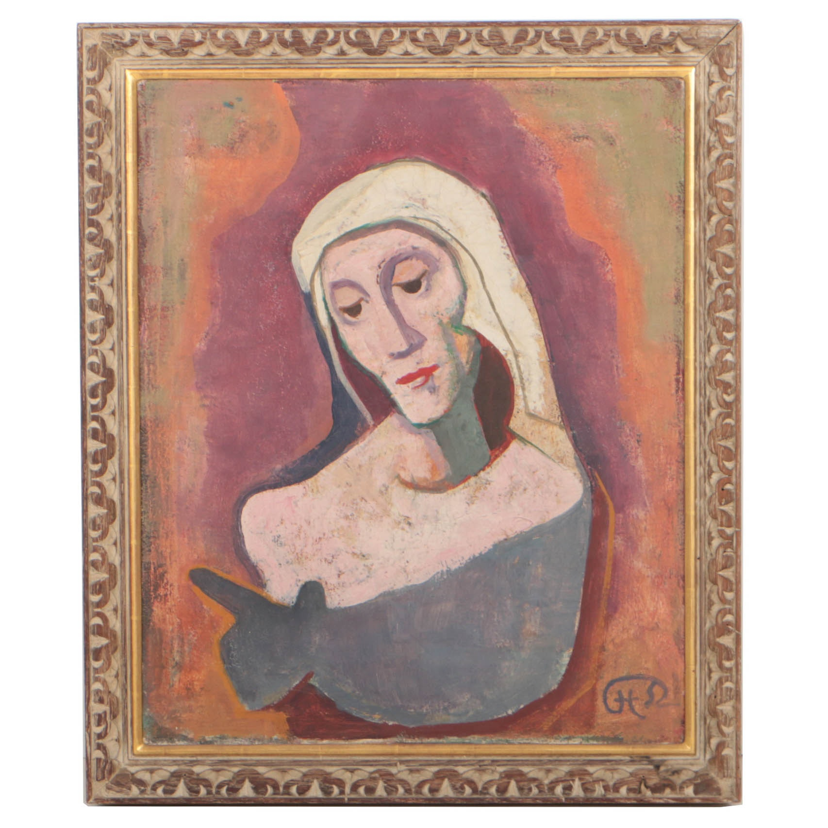 Karl Hofer 1952 Oil Painting Abstract Portrait of a Woman