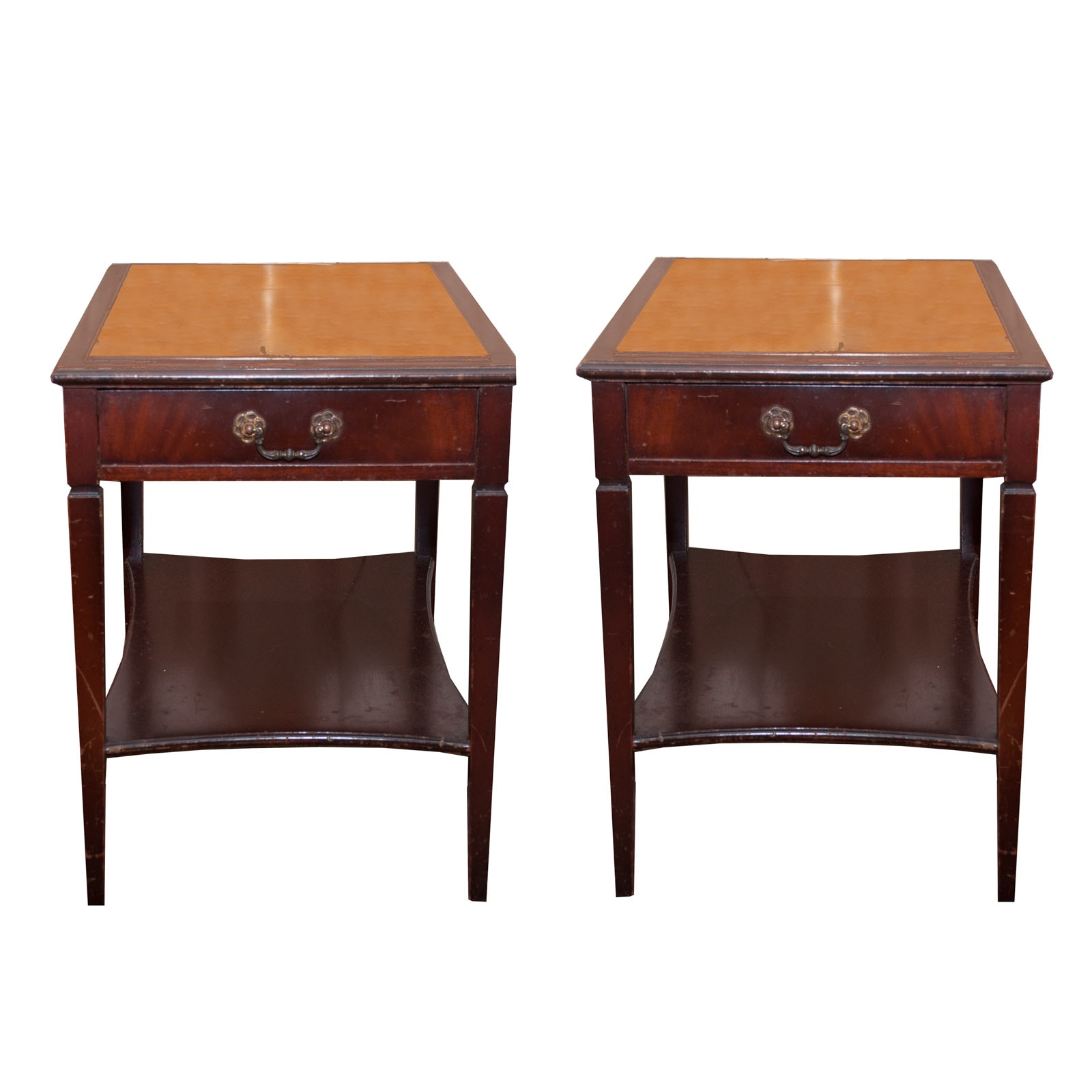 Mahogany End Tables with Leather Inset By Imperial Table Co., Mid-20th Century
