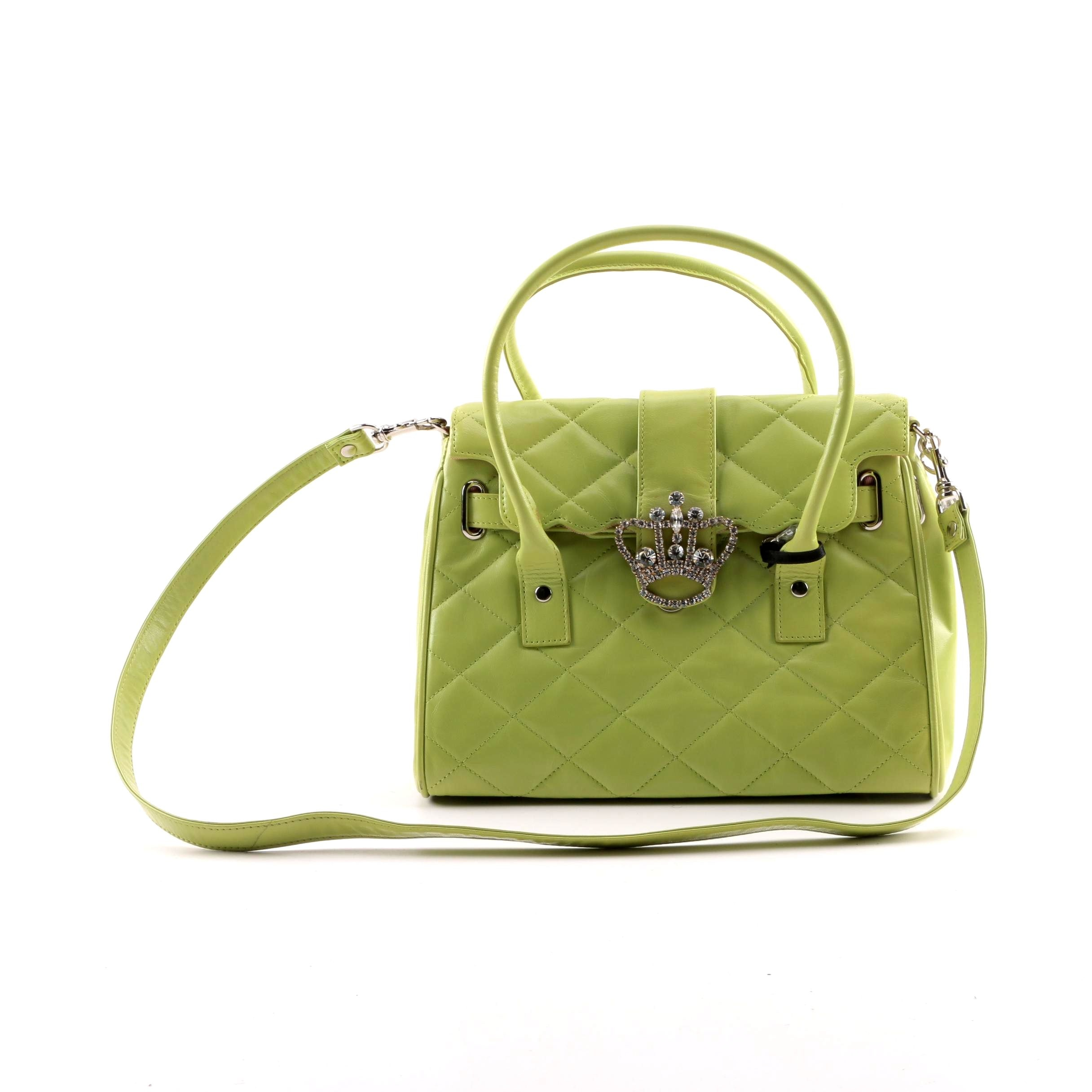 My Flat in London Lime Green Quilted Faux Leather Handbag