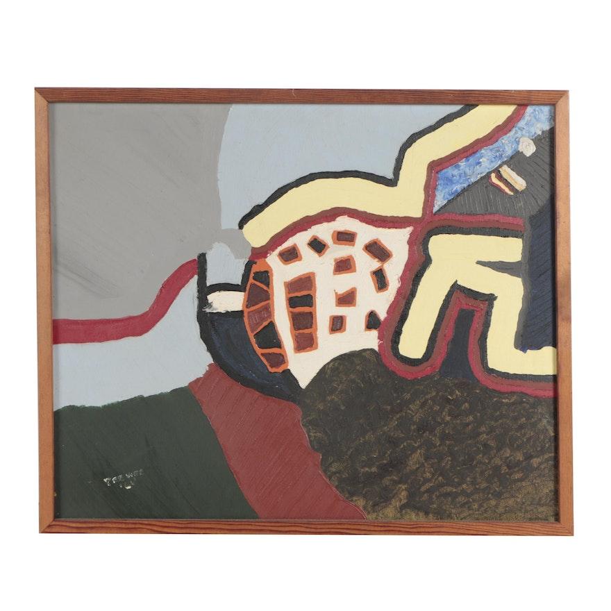 """Pee Wee Russell 1966 Oil Painting """"Muskogee Schoolroom"""""""