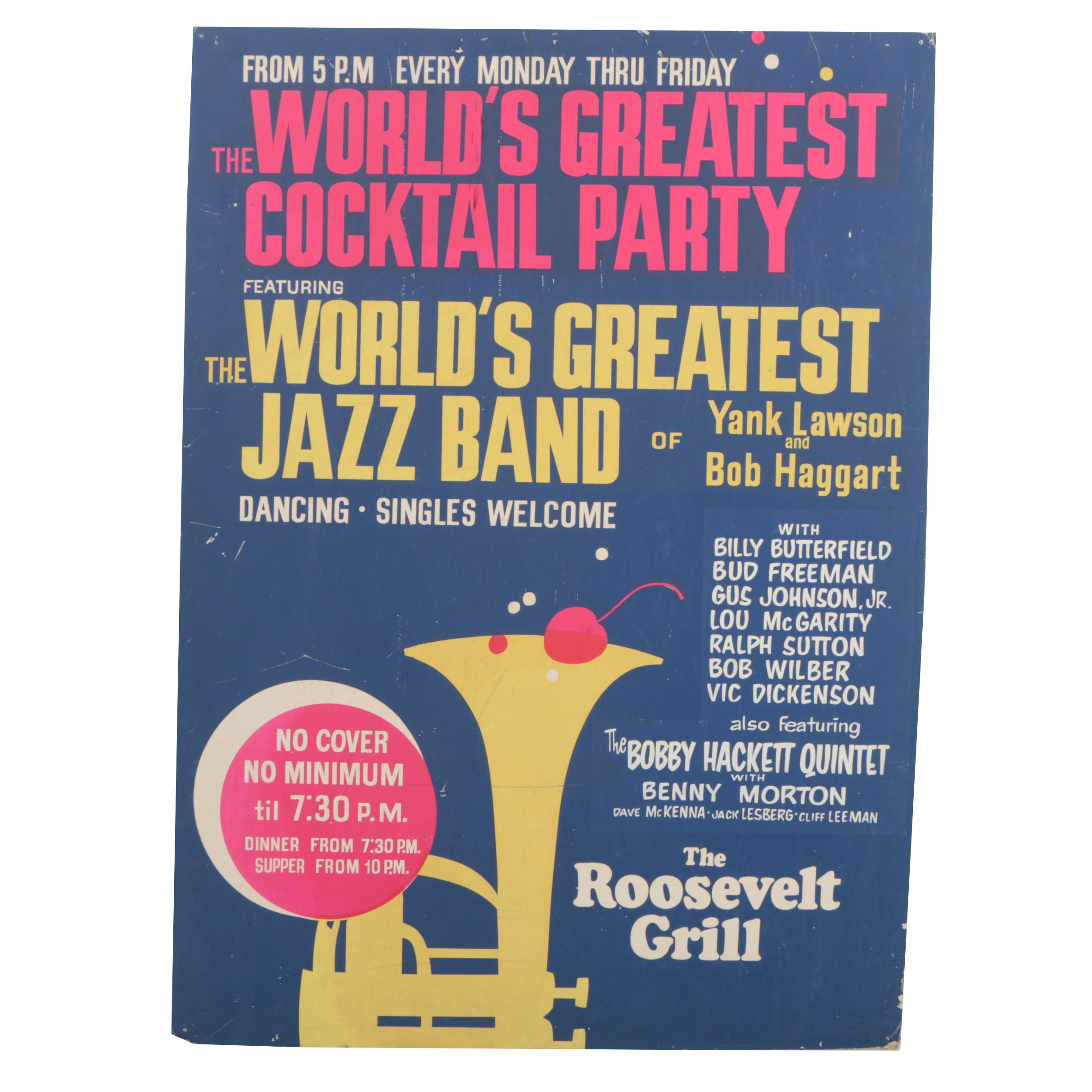 Vintage Serigraph Cocktail Party and Jazz Poster