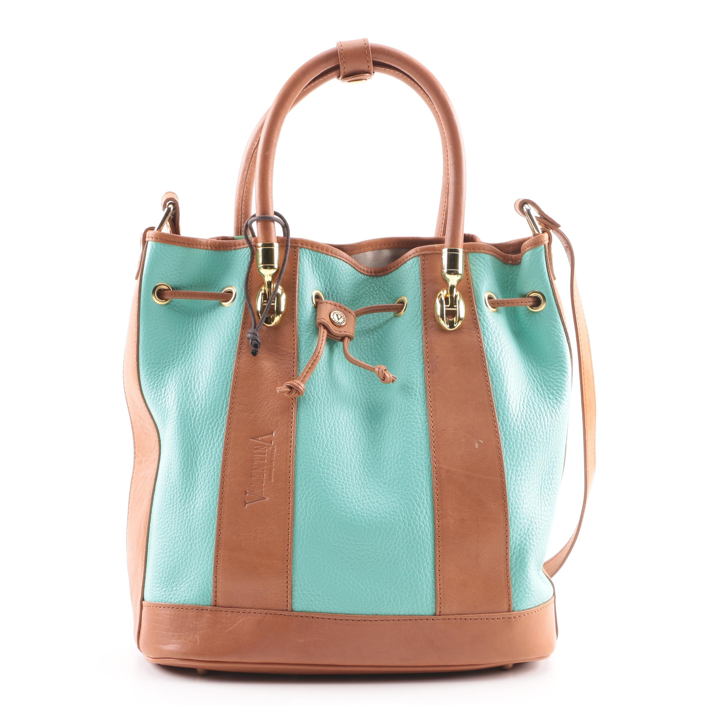 Valentina Aqua and Brown Leather Bucket Bag