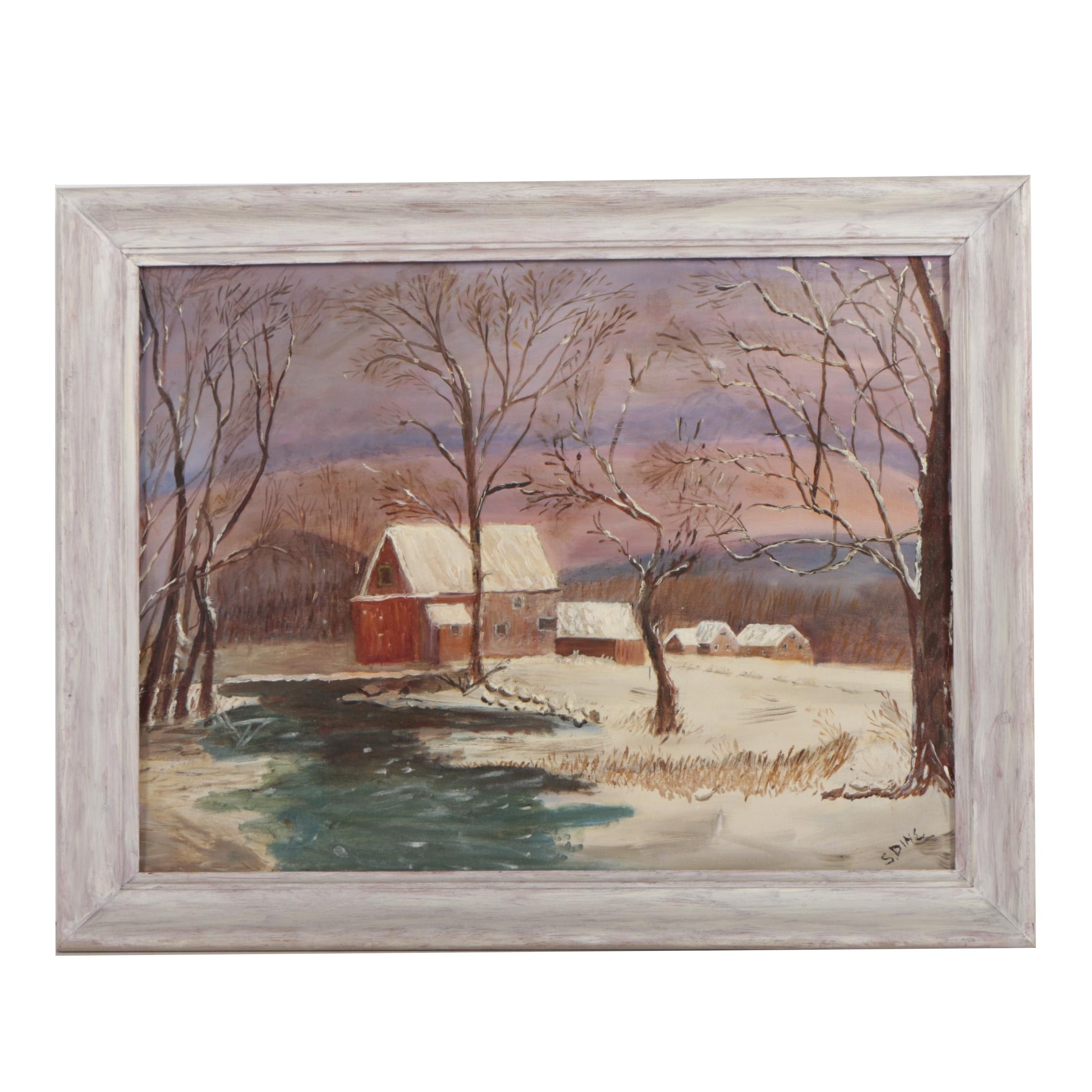 S. Dine Winter Landscape Oil Painting