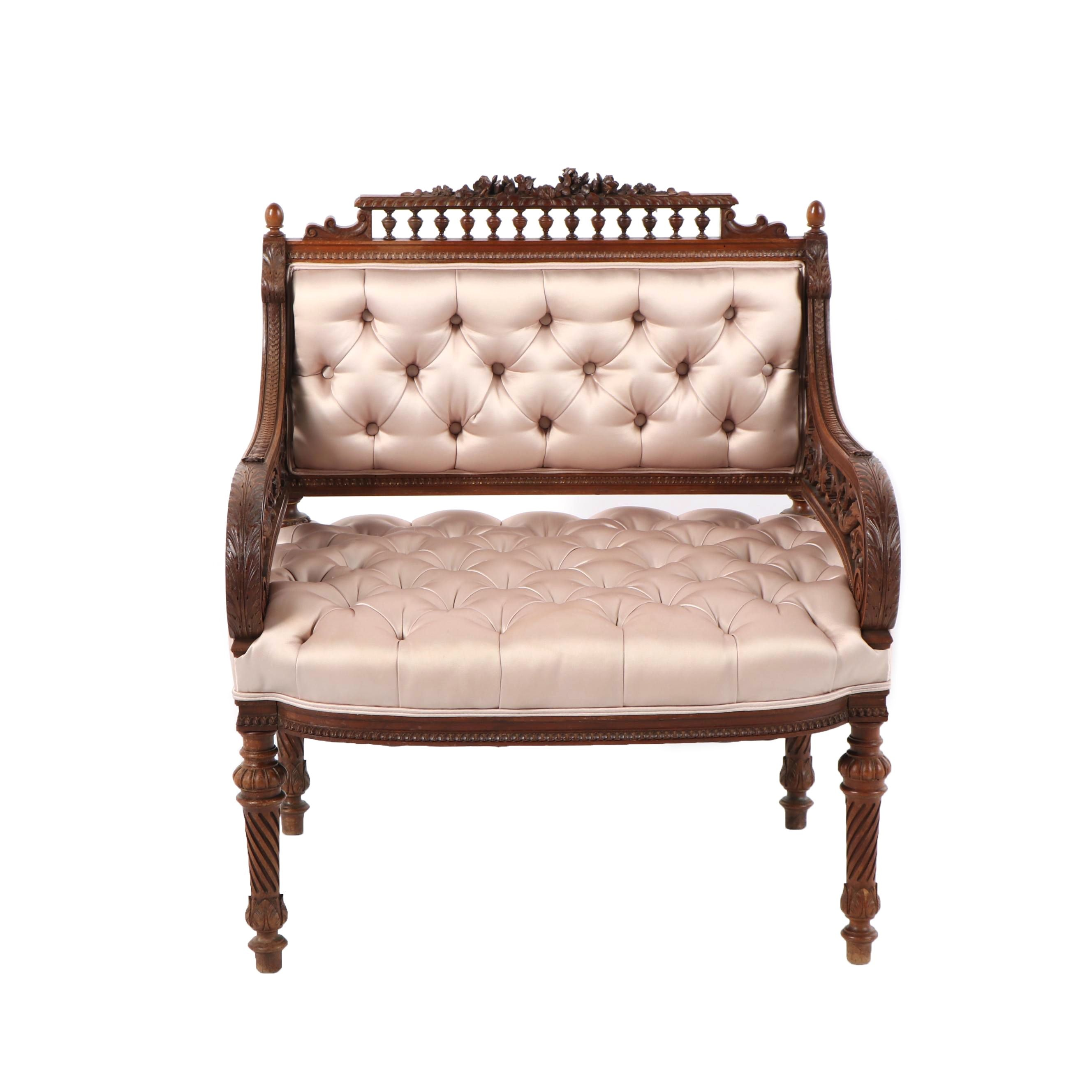 Eastlake Style Button Tufted Chair