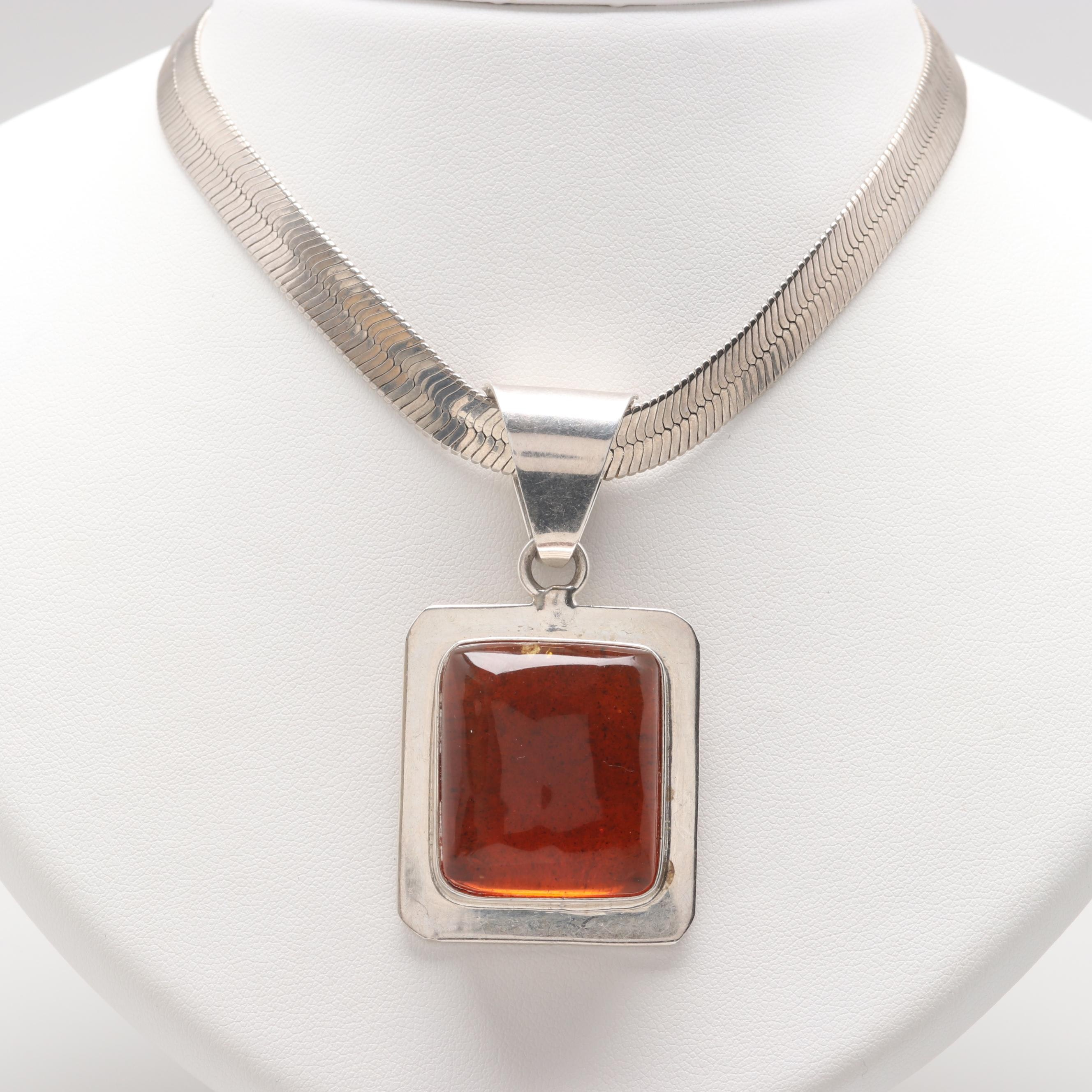 Mexican Sterling Silver Copal Resin Pendant Necklace
