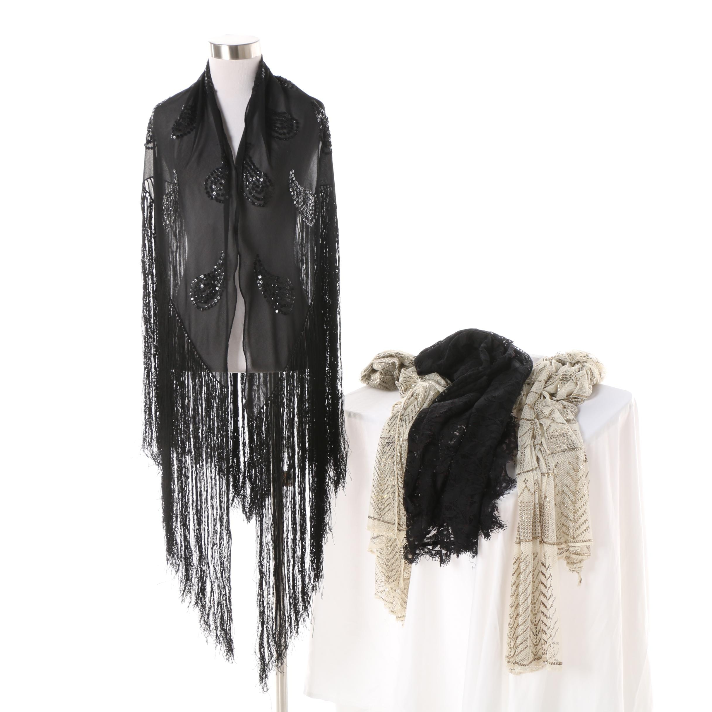 Women's Sequined Black Fringed Shawl and Fabric Remnants