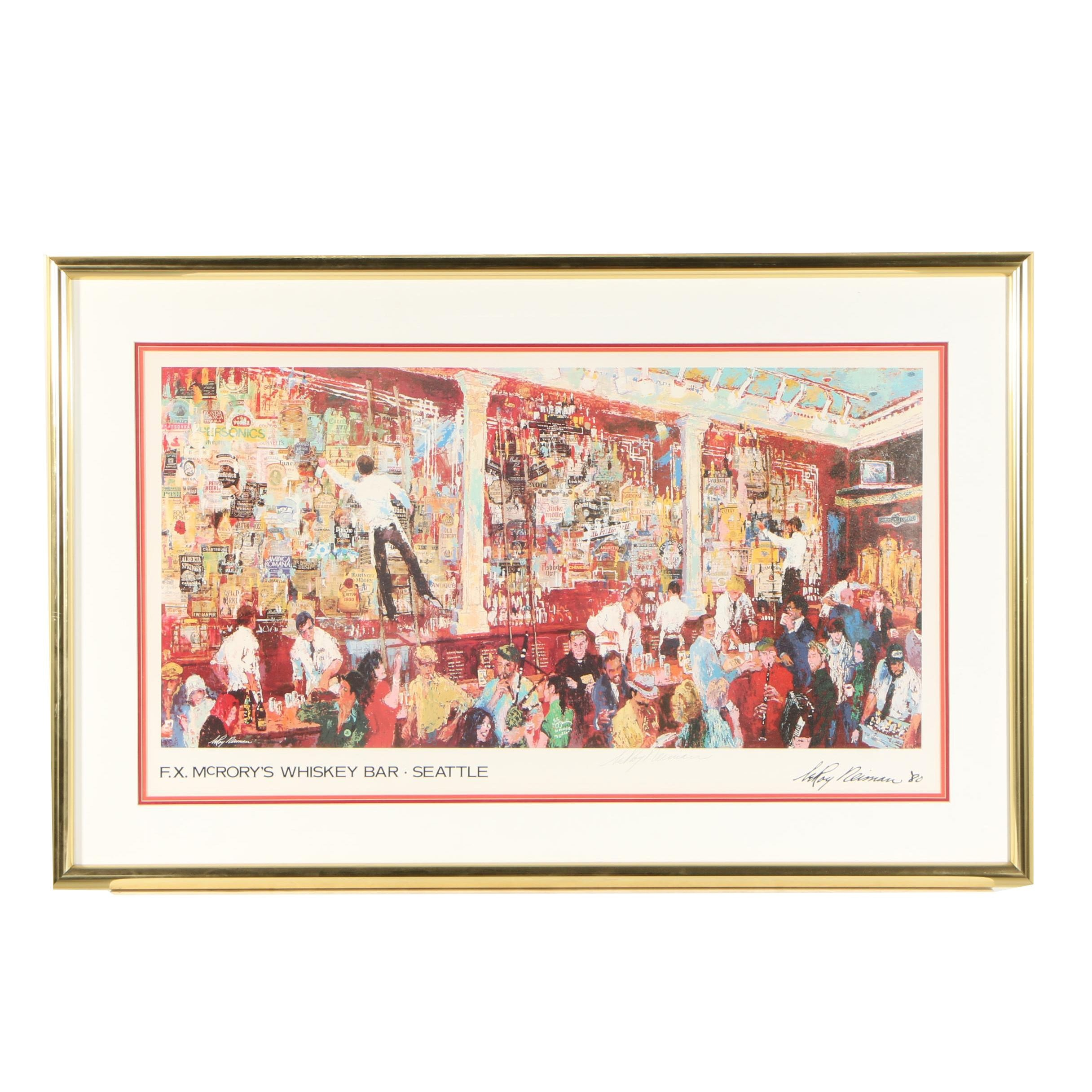 """LeRoy Neiman Offset Lithograph """"F. X. McRory's Whiskey Bar"""""""