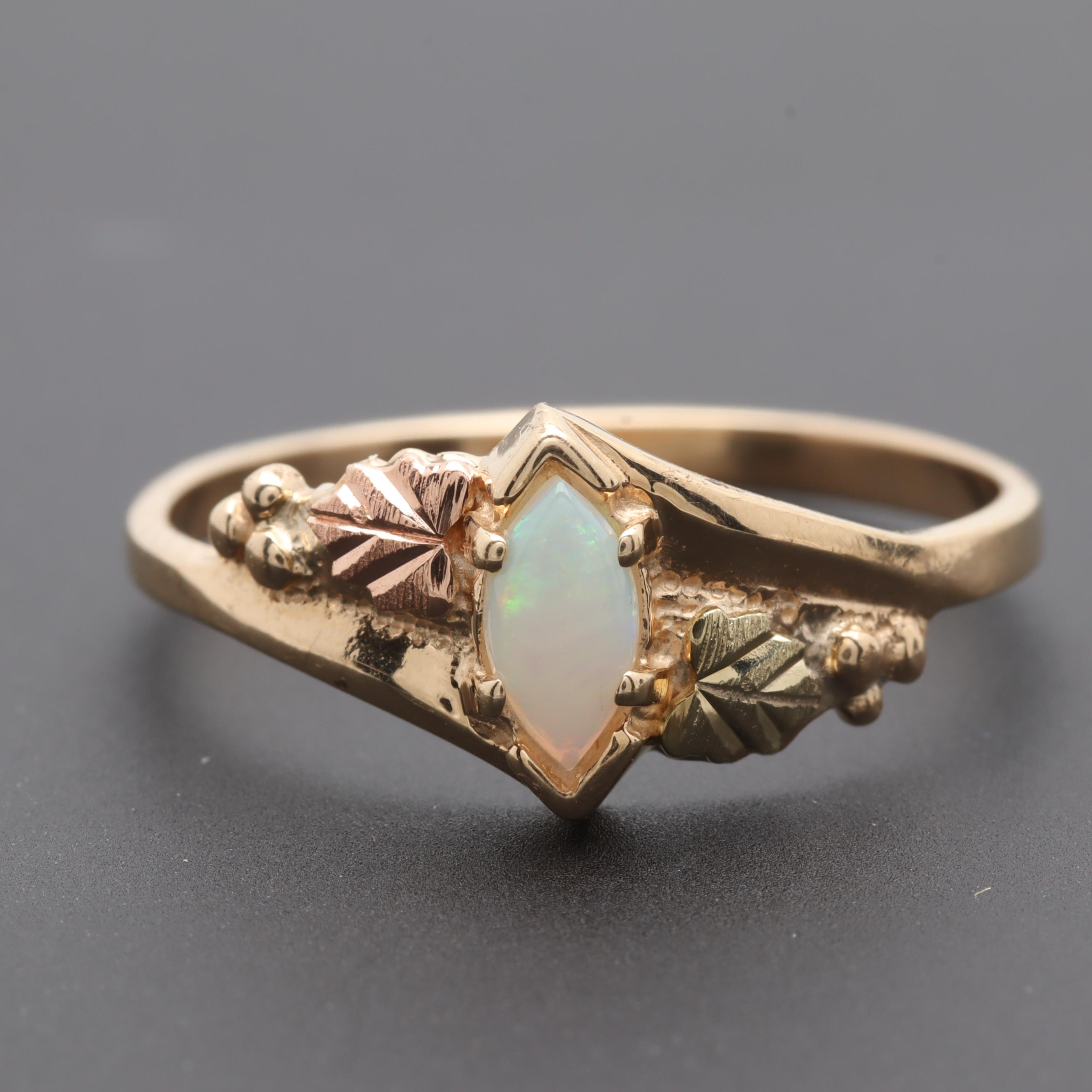 Black Hills Gold 10K Yellow Gold Opal Foliate Motif Ring With Rose Gold Accent