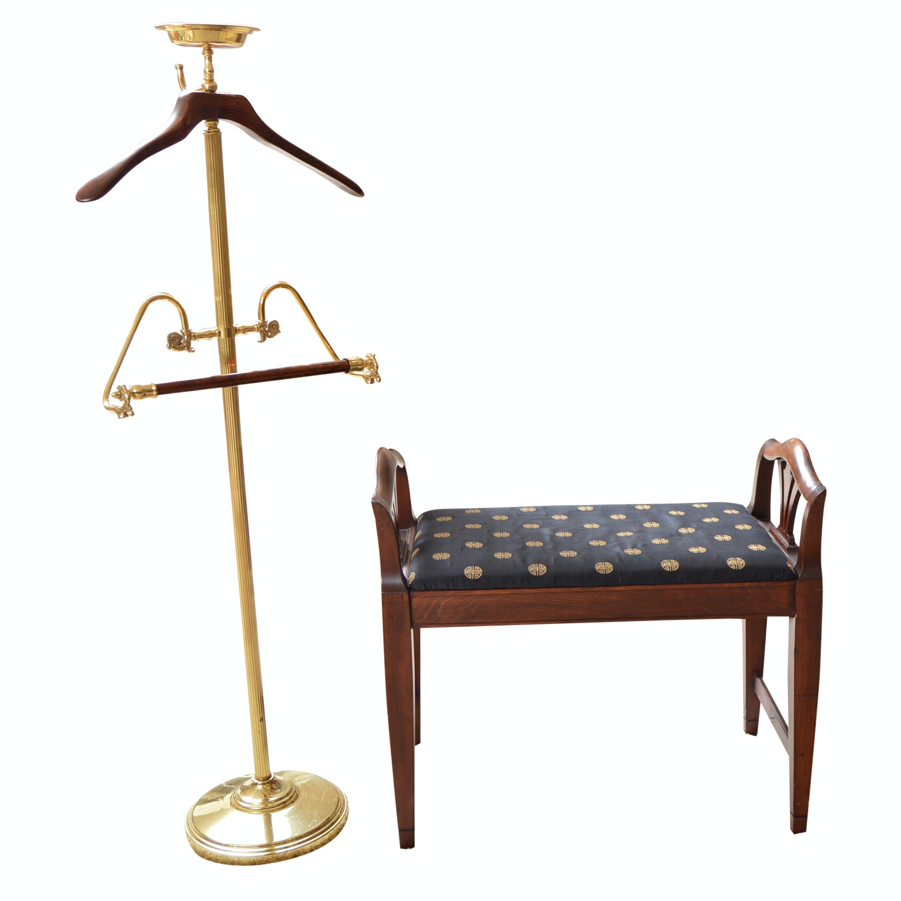Classic Brass Valet and Chippendale Style Mahogany Bench