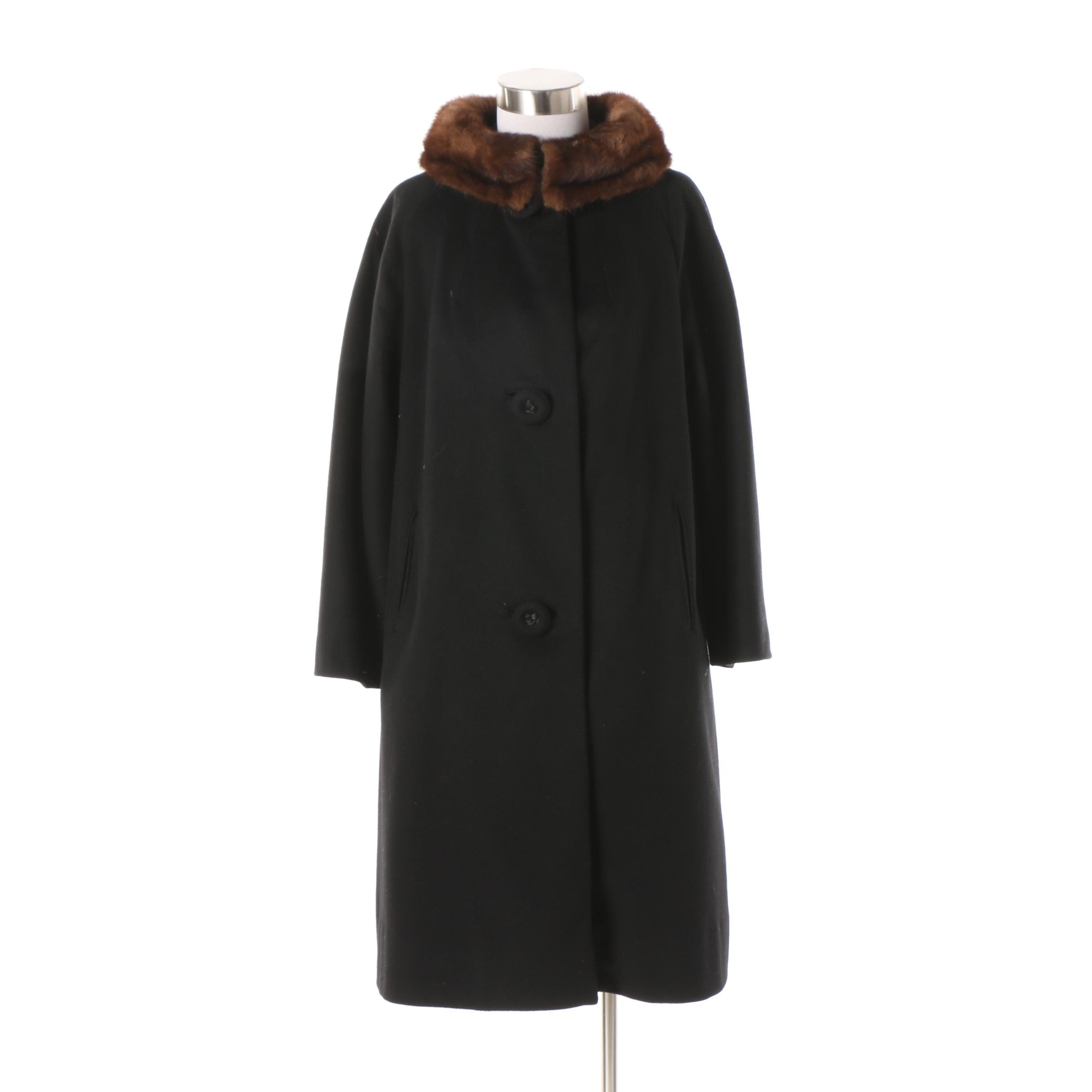Women's Vintage Brawson Black Wool Blend Coat with Mink Fur Collar