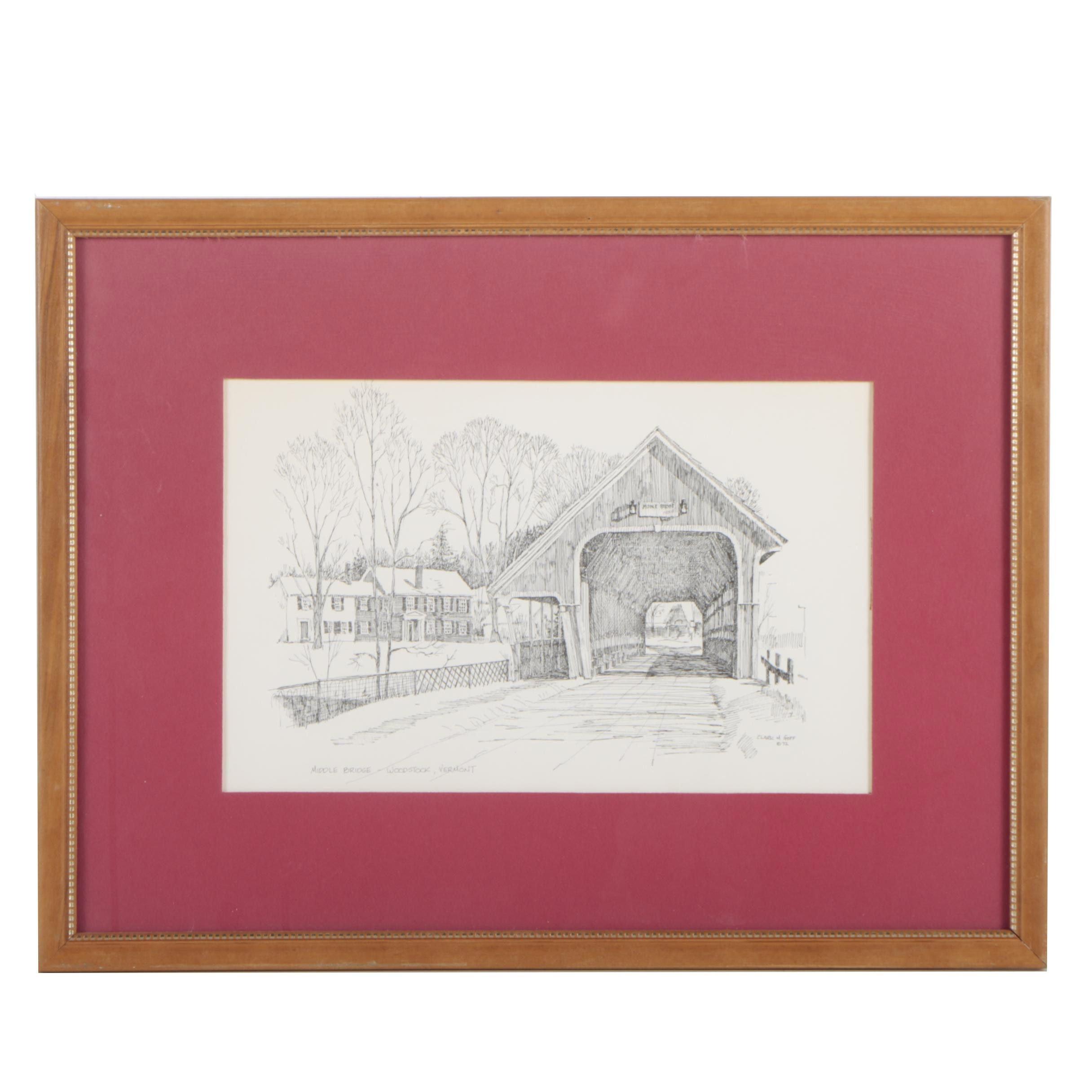 "Lithograph after Clark M. Goff ""Middle Bridge-Woodstock, Vermont"""