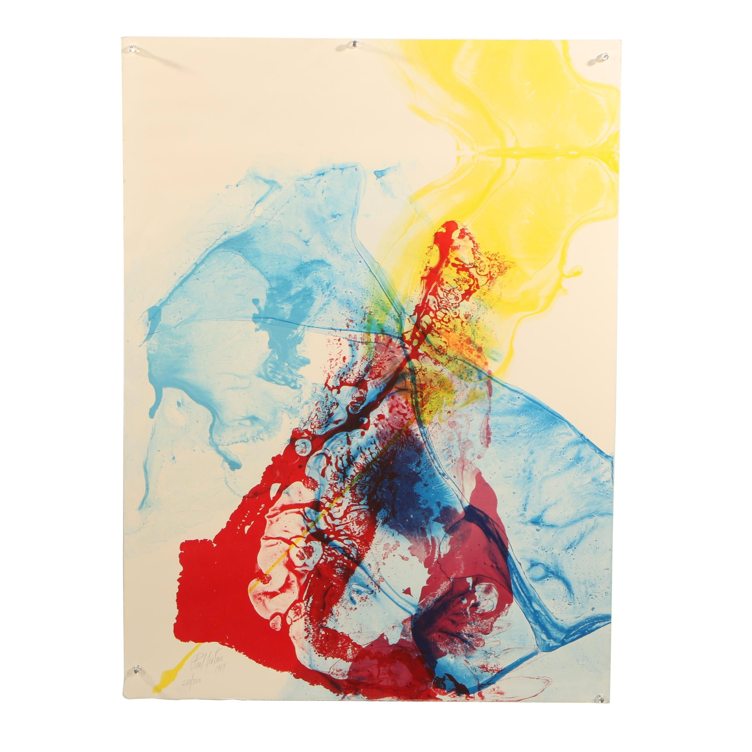 Paul Jenkins Abstract Expressionist Color Lithograph