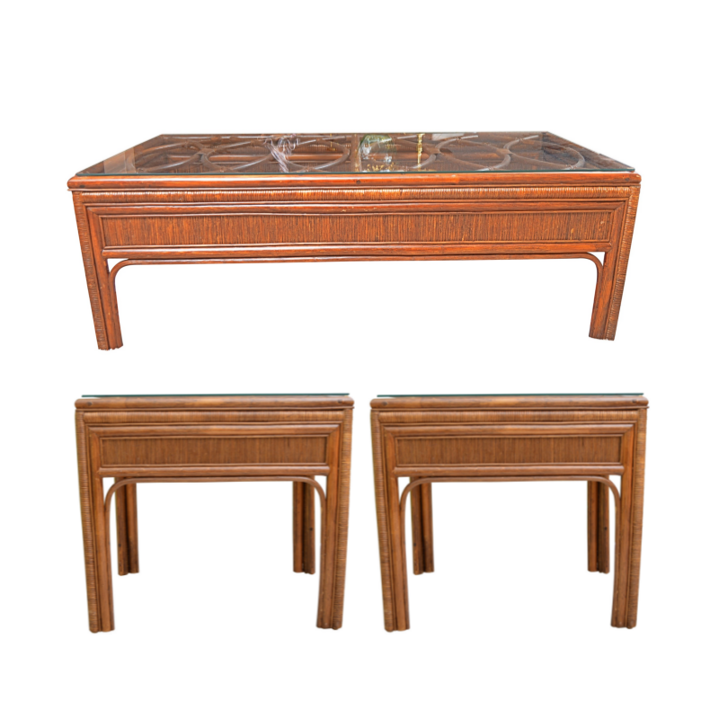 Rattan and Bamboo Side and Coffee Table Set