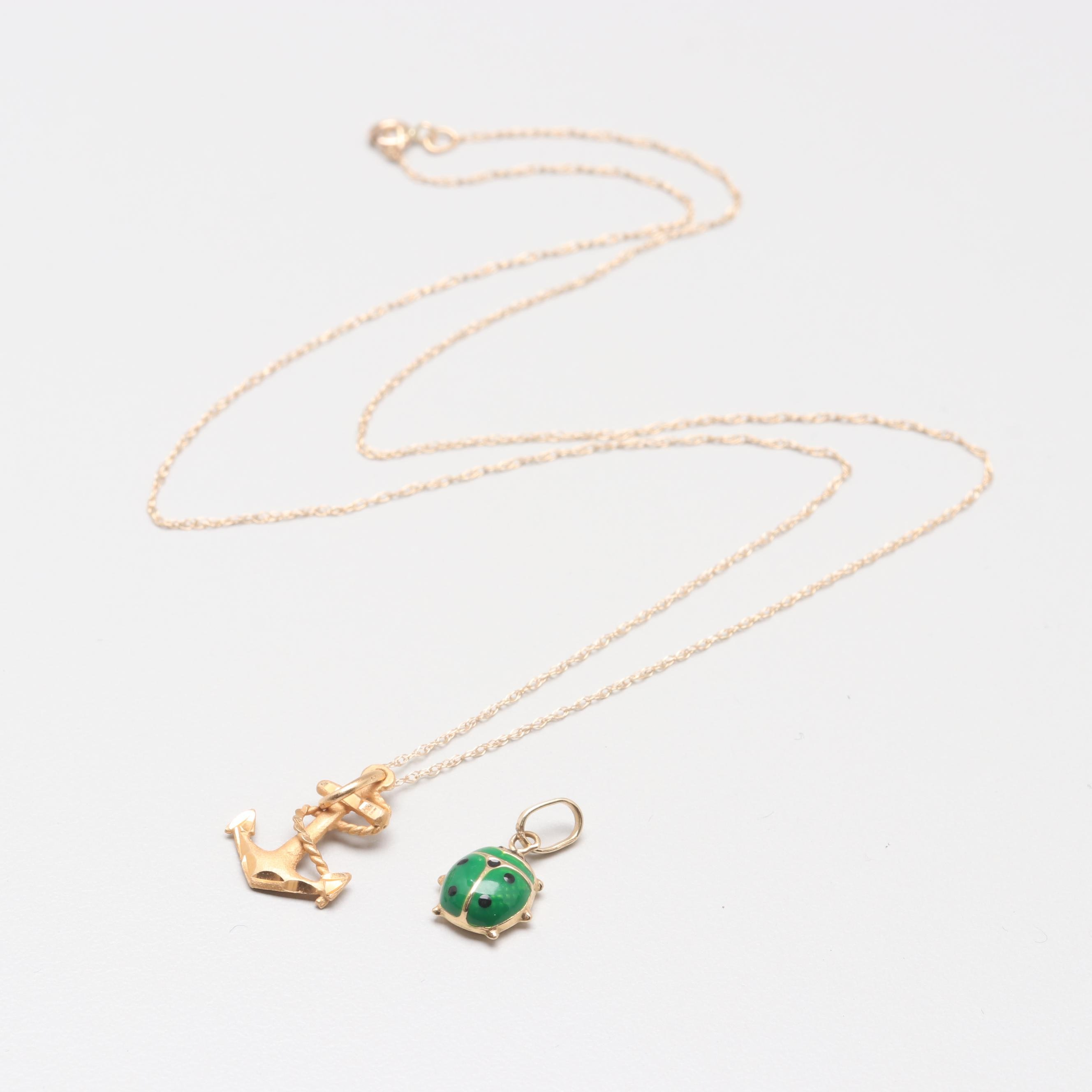 14K Yellow Gold Necklace and Enamel Charm