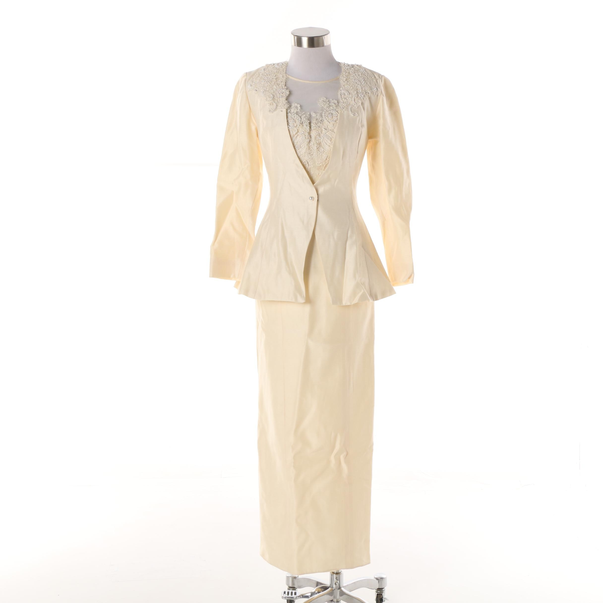 Vintage Alfred Angelo Dream Maker Embellished Silk Dress and Jacket