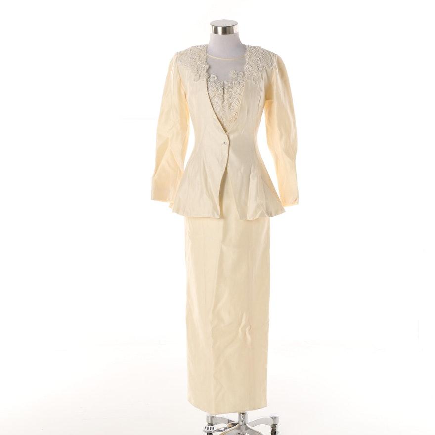Vintage Alfred Angelo Dream Maker Embellished Silk Dress And Jacket
