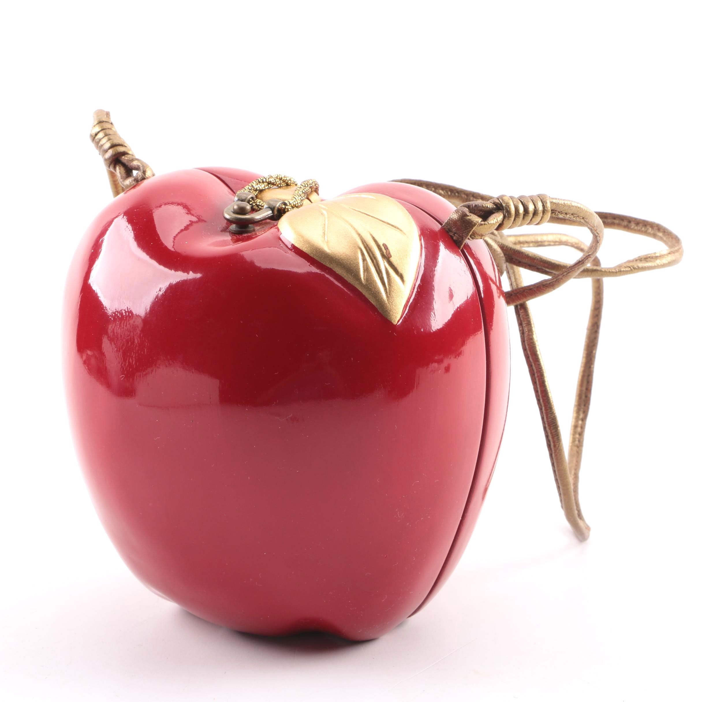 Timmy Woods Beverly Hills Hand-Painted Wooden Apple Evening Bag
