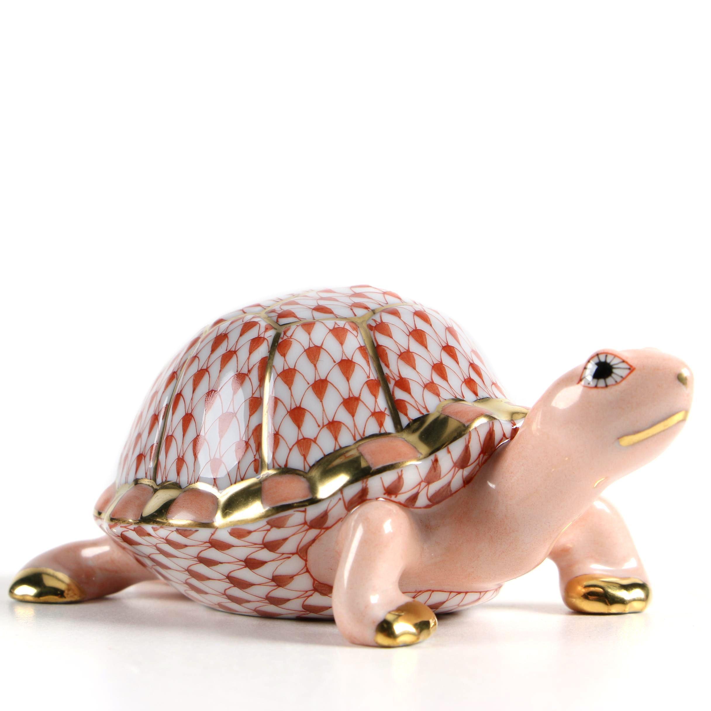 "Herend Hungary ""Box Turtle"" Hand-Painted Porcelain Figurine"