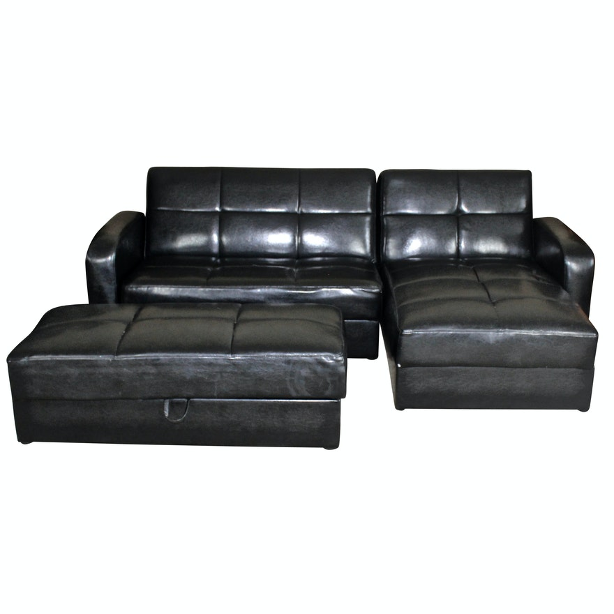 Remarkable Ikea Storage Sectional Sofa In Black Vinyl Unemploymentrelief Wooden Chair Designs For Living Room Unemploymentrelieforg