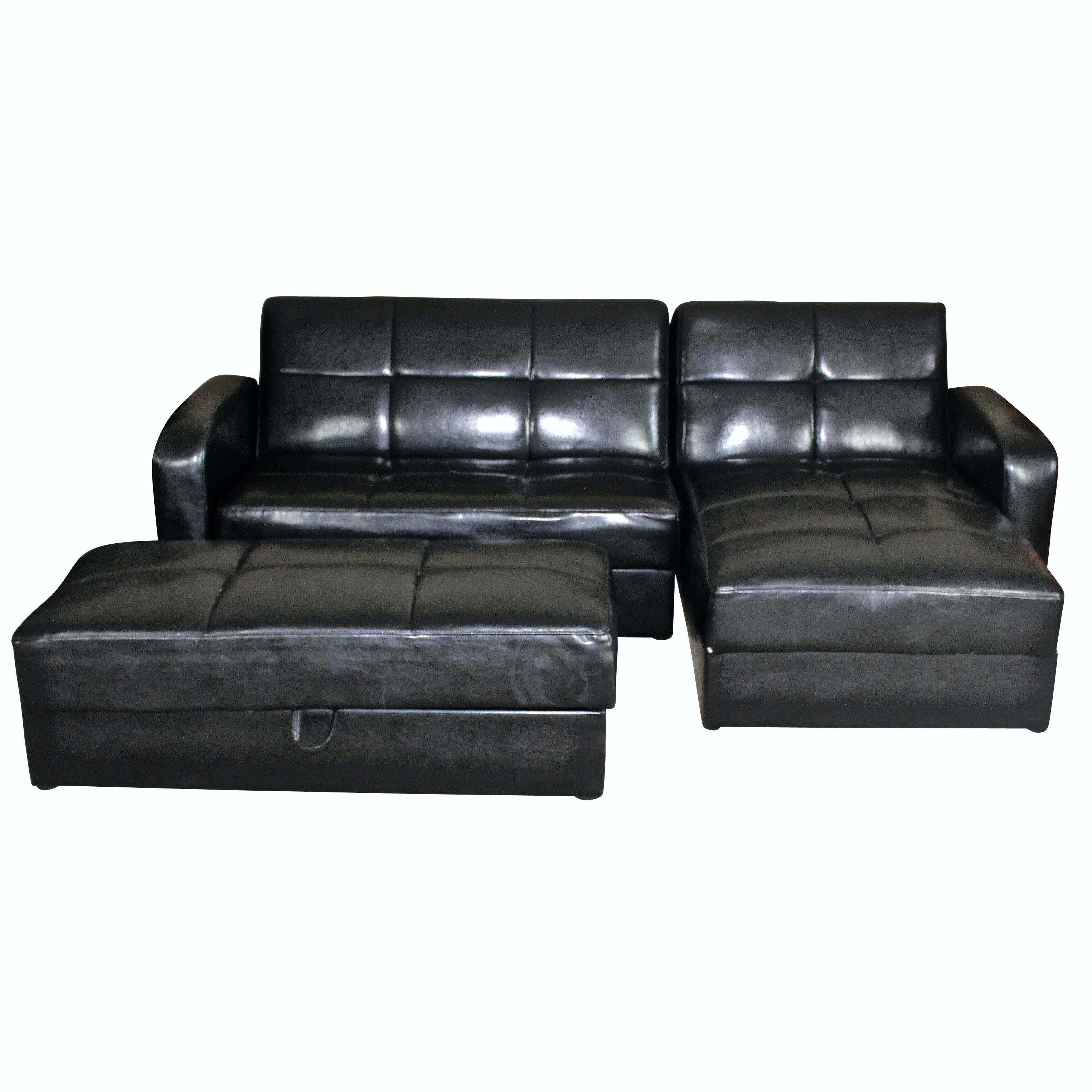 IKEA Storage Sectional Sofa In Black Vinyl ...